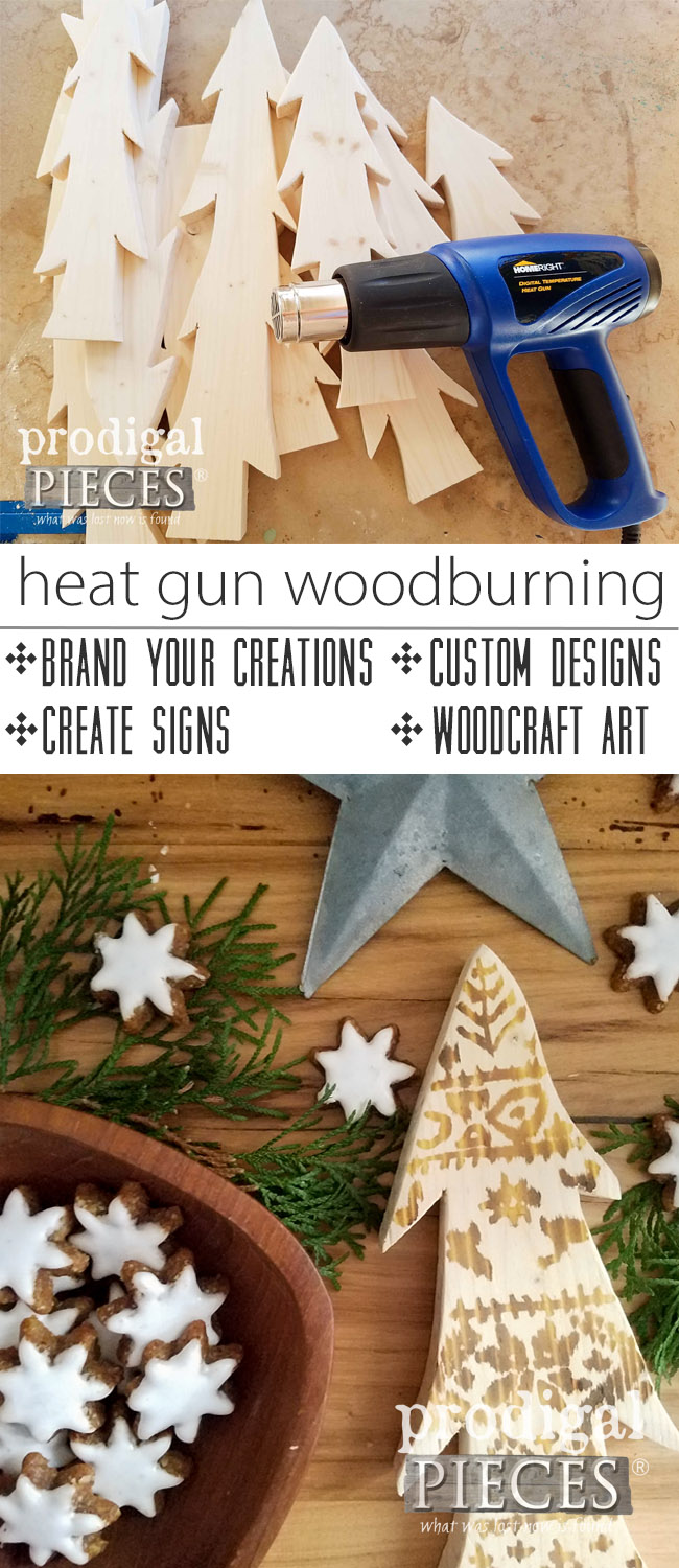 So awesome! Did you know you can use a heat gun to wood burn? Endless uses and so easy to do. Get the full tutorial for this technique and these beautiful Nordic wooden trees by Larissa of Prodigal Pieces | prodigalpieces.com