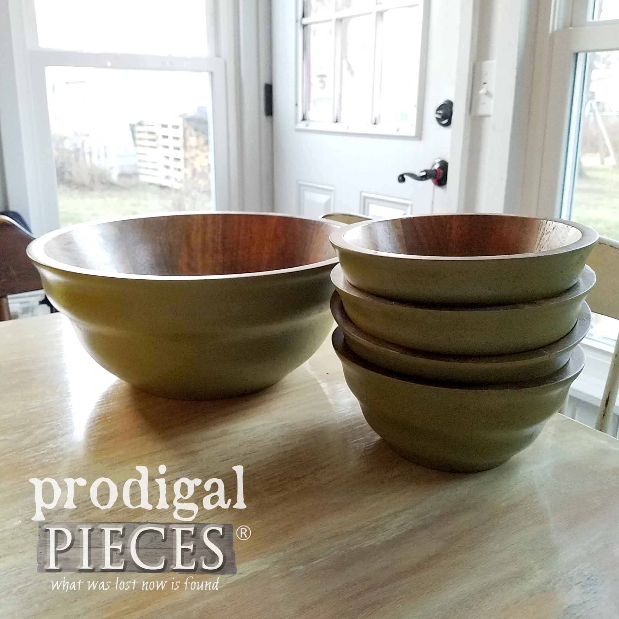 Set of Thrifted Wooden Salad Bowls Before Repurposing | prodigalpieces.com