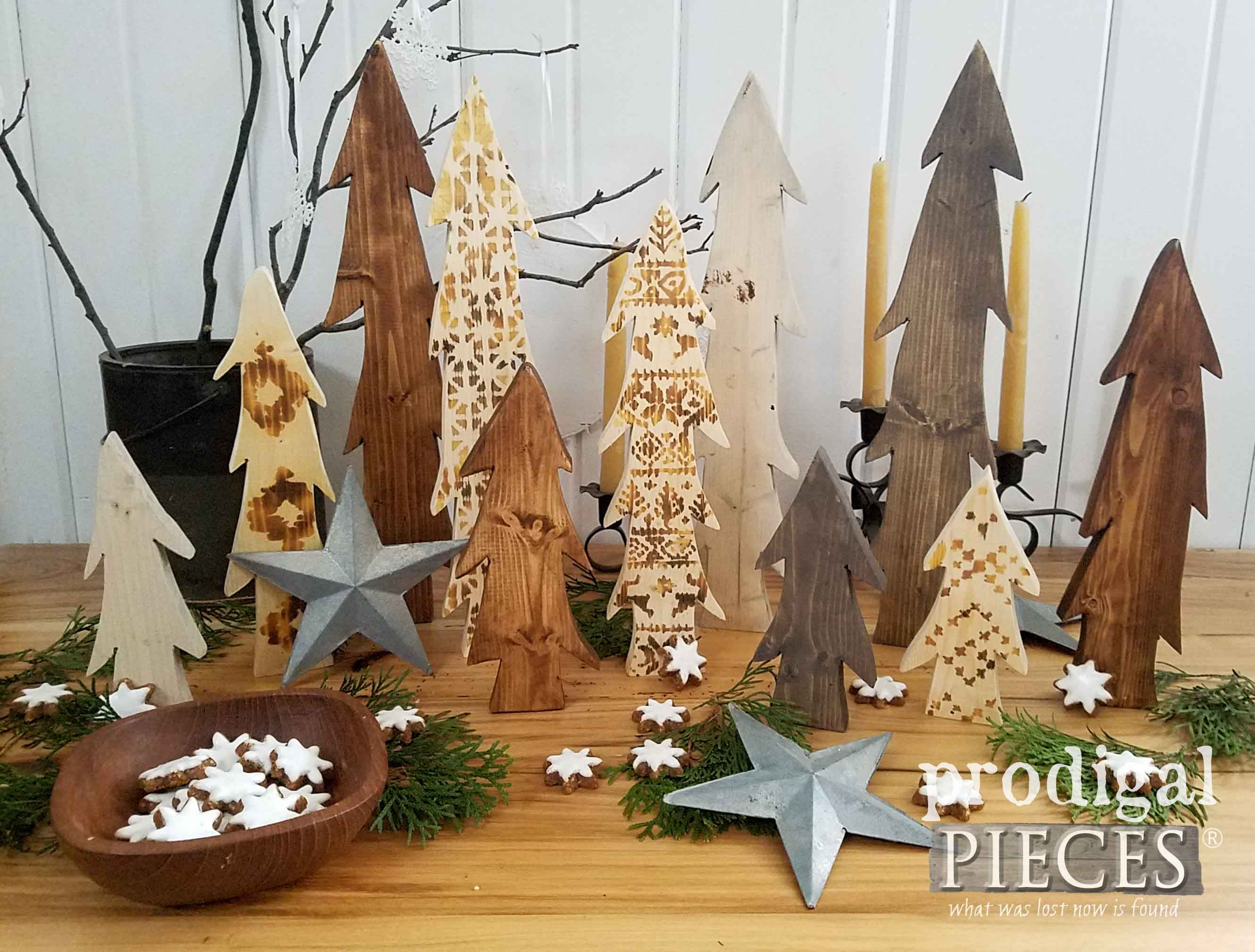 Nordic Wooden Tree Display with Wood Burned Trees. DIY tutorial at Prodigal Pieces | prodigalpieces.com