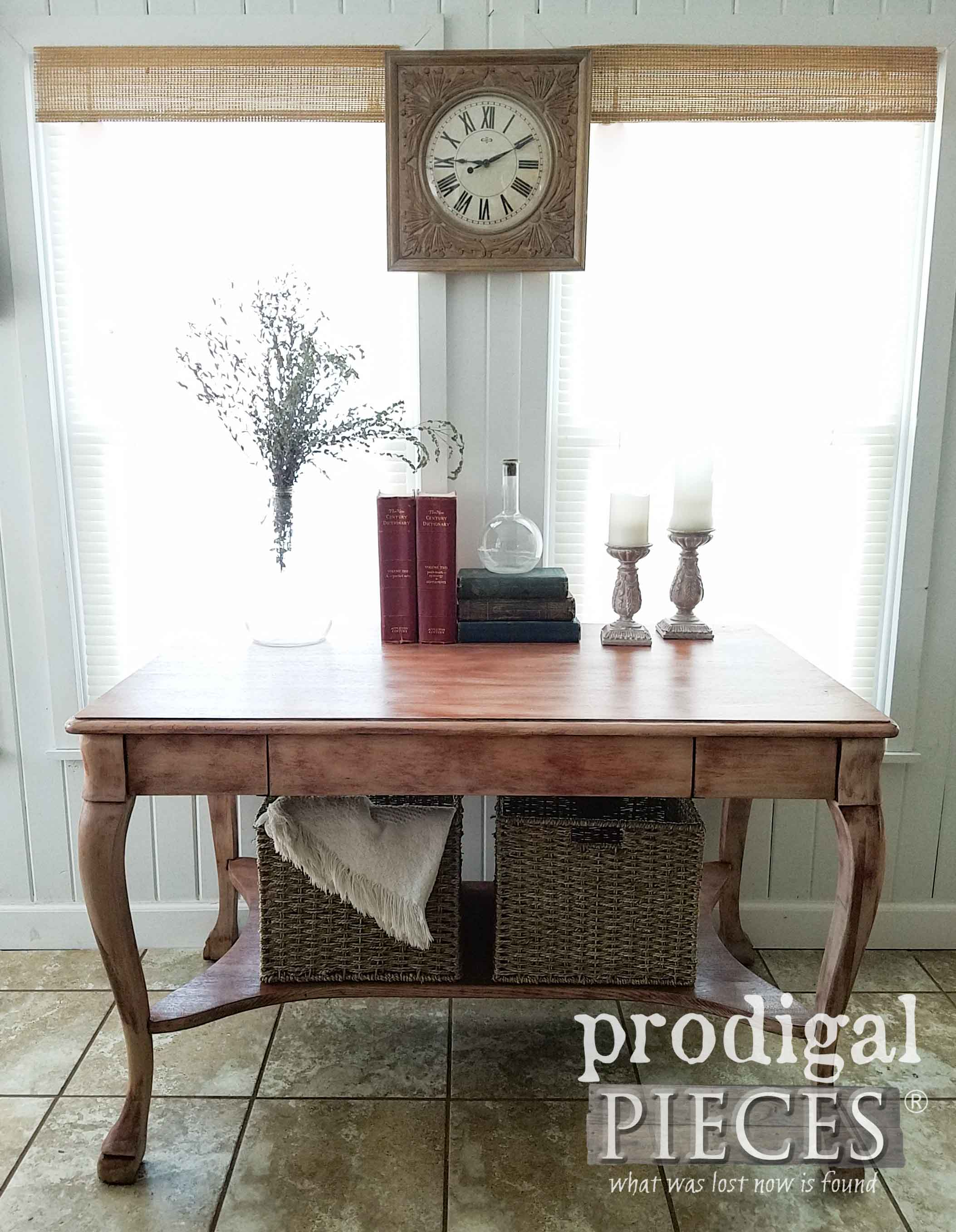 Antique Larkin Library Table Refinished by Larissa of Prodigal Pieces | DIY details at prodigalpieces.com