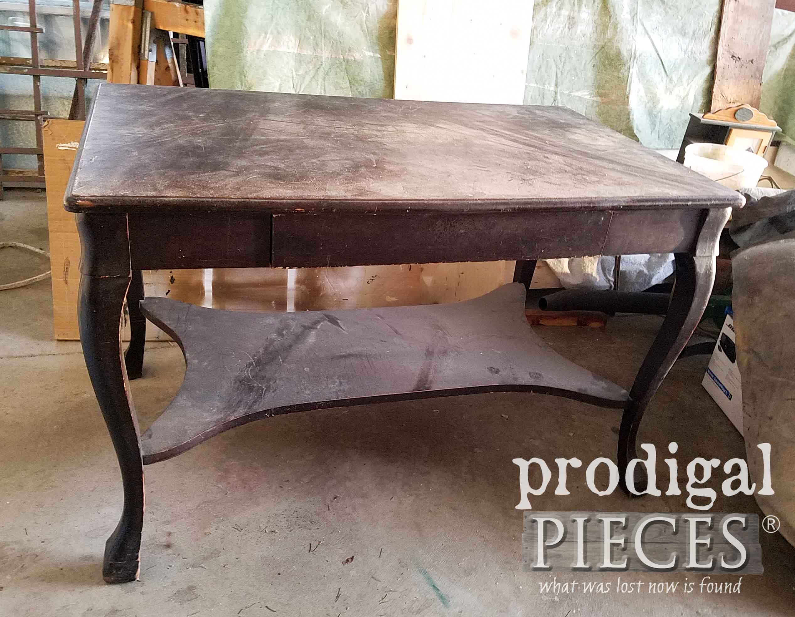 Antique Library Table Before Makeover by Larissa of Prodigal Pieces | prodigalpieces.com