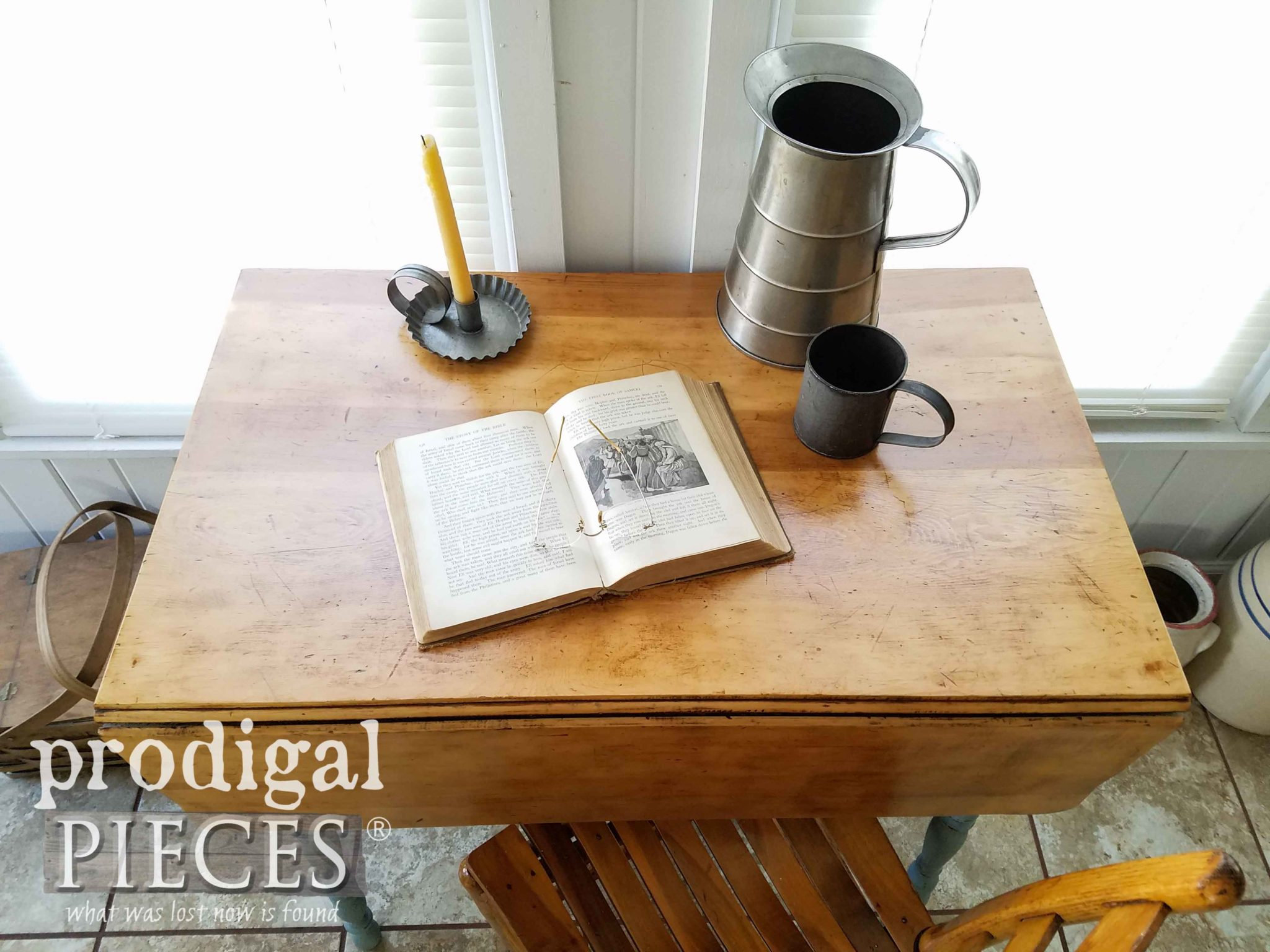 Antique Pine Drop-Leaf Table with Farmhouse Style by Larissa of Prodigal Pieces | prodigalpieces.com