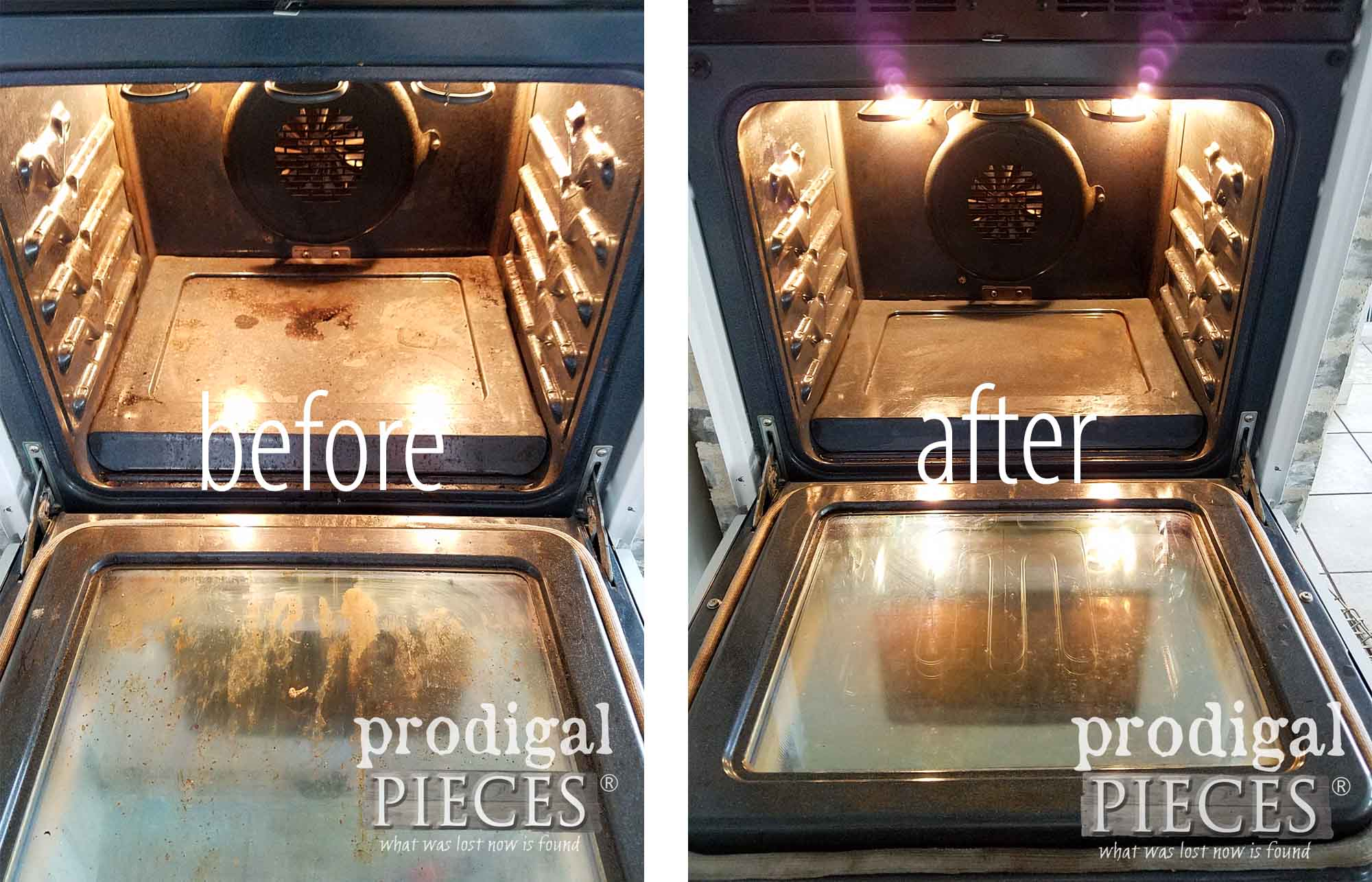 Before and After of Kitchen Oven Cleaning by Prodigal Pieces | prodigalpieces.com