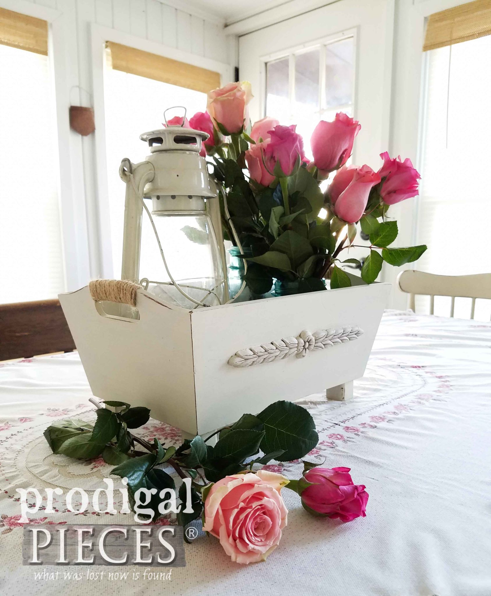 Thrifted Box Repurposed into Table Centerpiece with a little TLC by Larissa of Prodigal Pieces | prodigalpieces.com