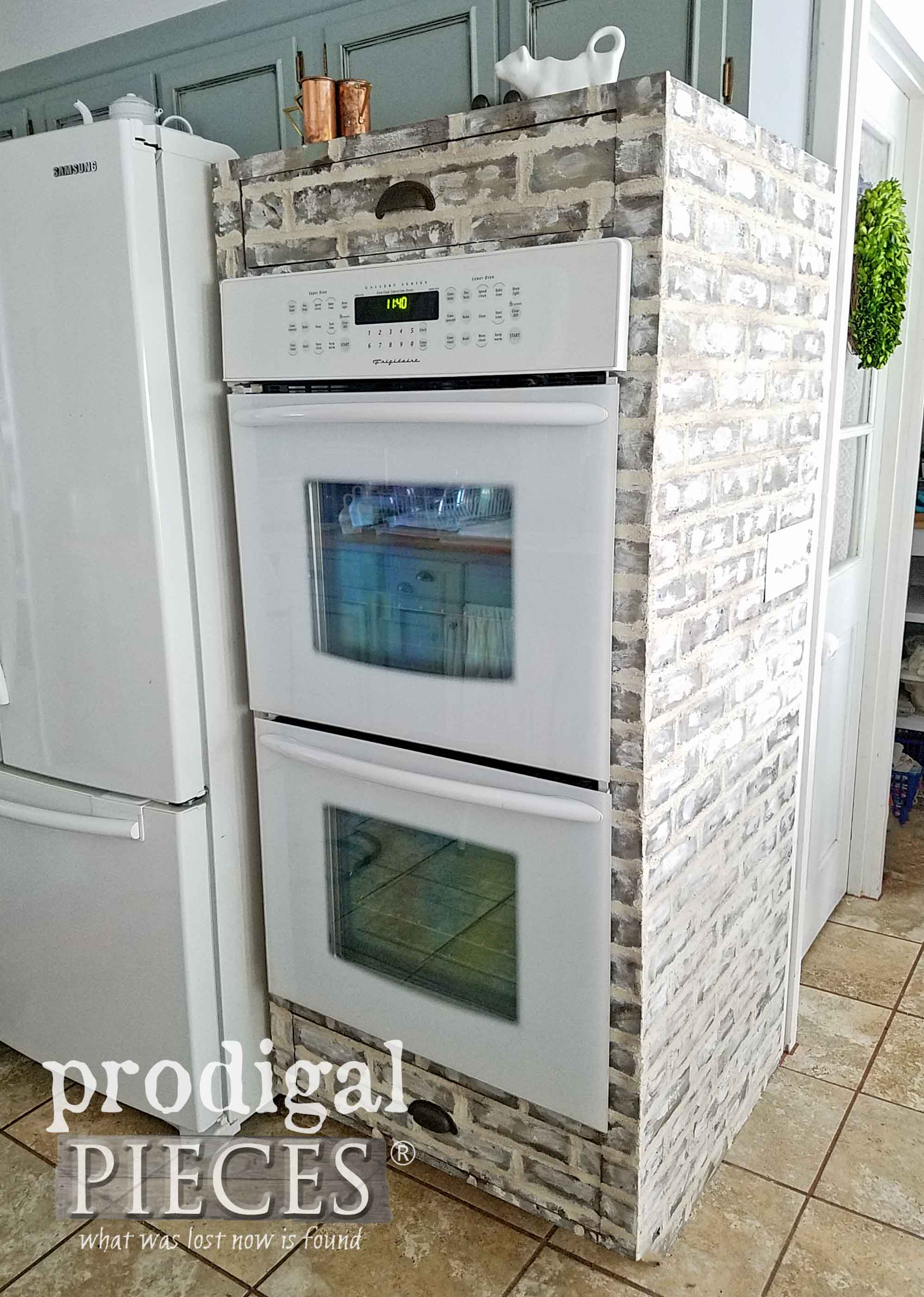 Double Oven with Faux Brick Treatment by Prodigal Pieces | Tutorial to follow at prodigalpieces.com