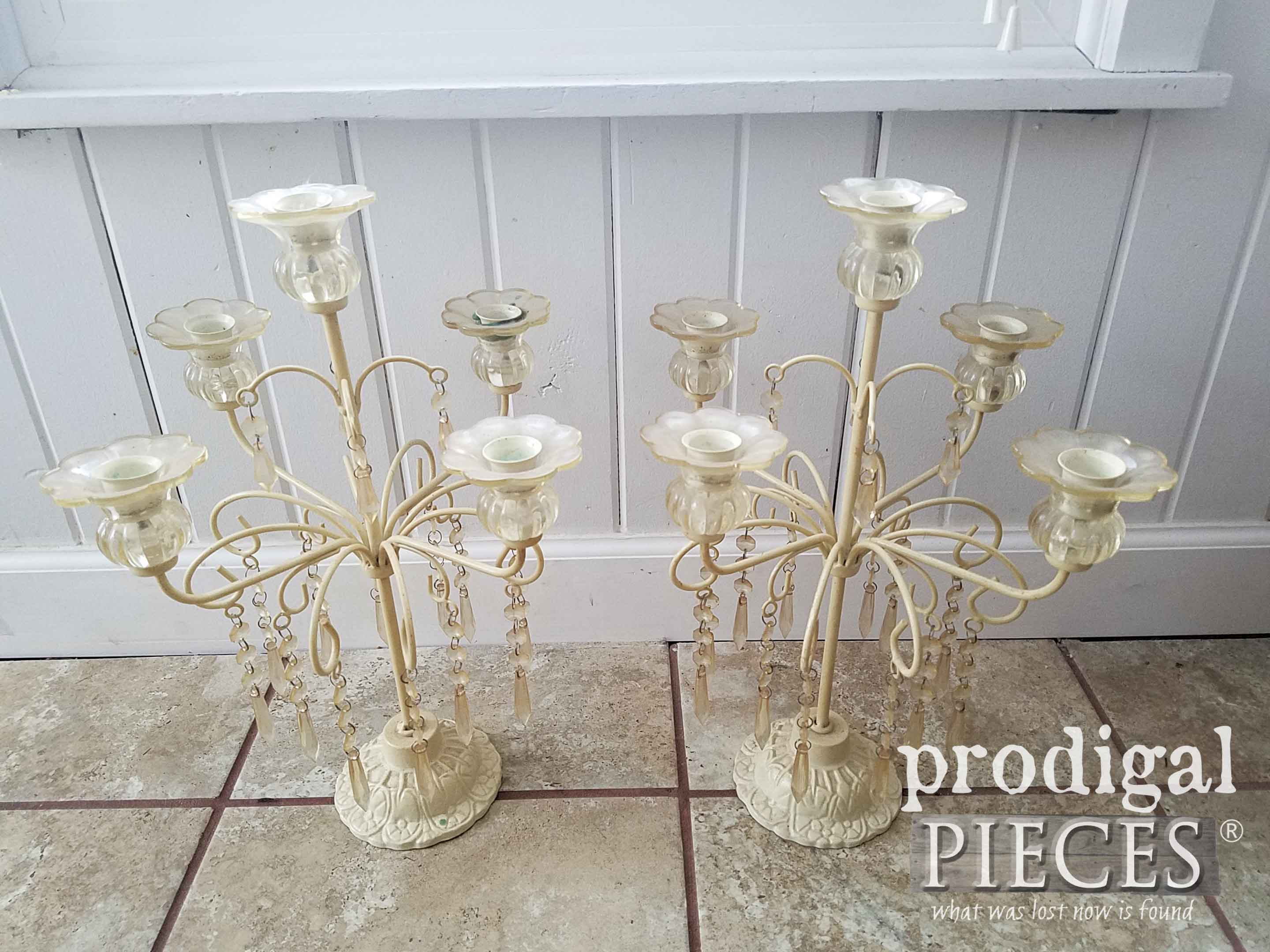 Set of Thrifted Candelabras Before Makeover by Prodigal Pieces | prodigalpieces.com