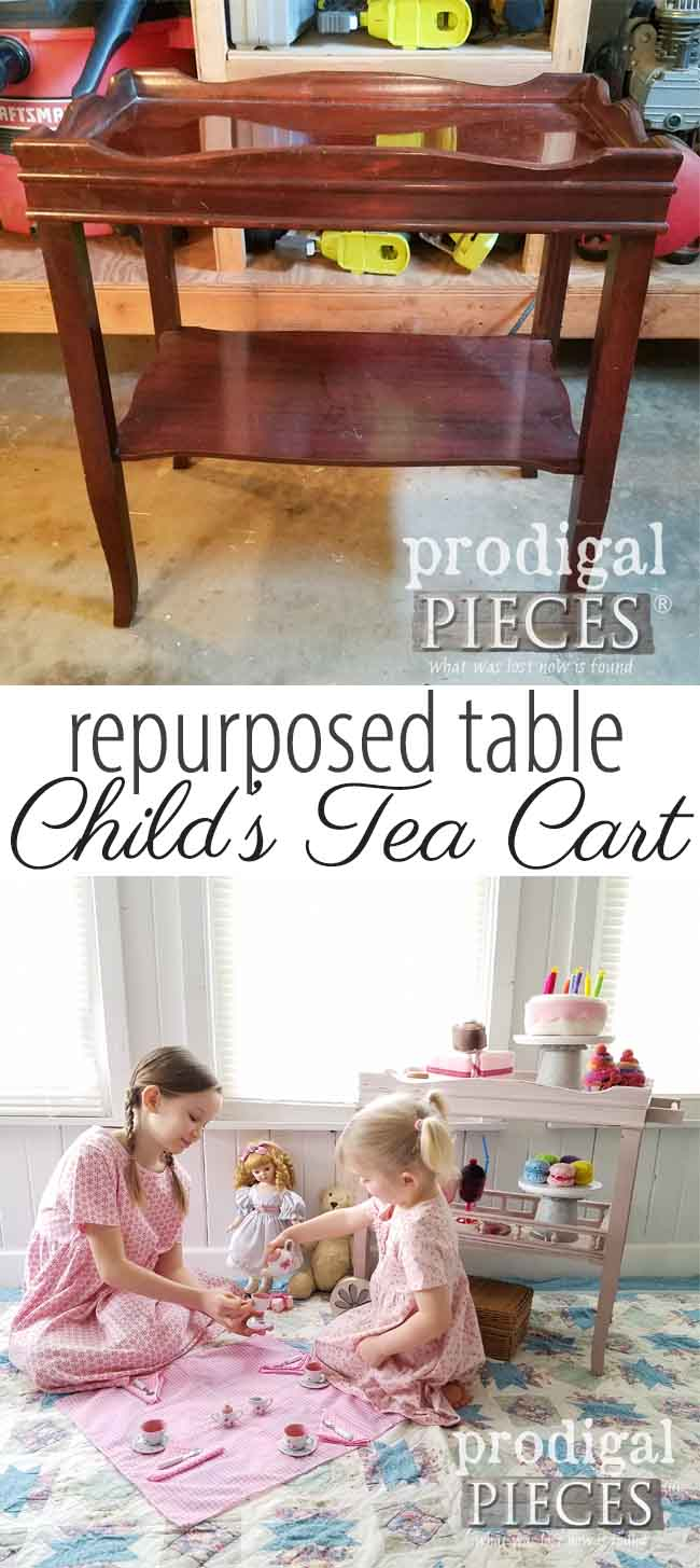 Oh my sweetness! Just look how cute this little child's tea cart is! Made from a repurposed side table by Larissa of Prodigal Pieces | prodigalpieces.com