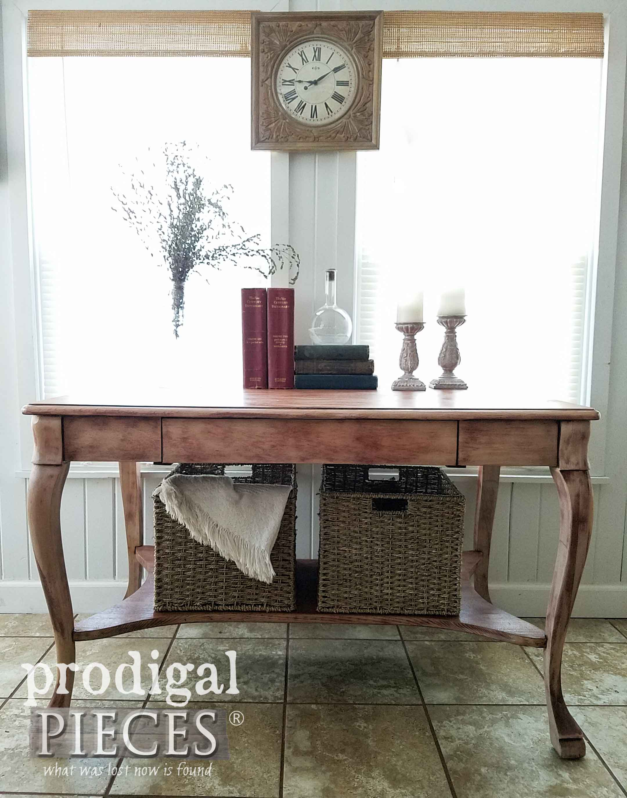 Antique larkin library table with baskets prodigal pieces gorgeous lines in this rustic style antique library table by larkin company and refinished by larissa geotapseo Choice Image