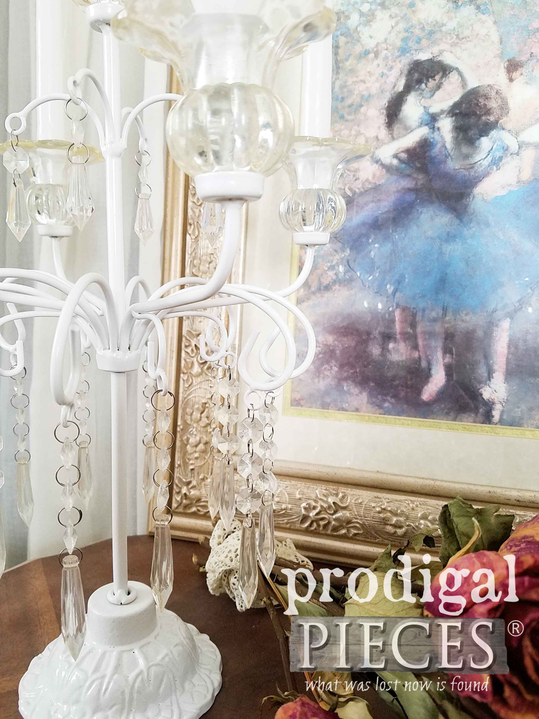 Crystal Candelabras Given New Life by Larissa of Prodigal Pieces | prodigalpieces.com