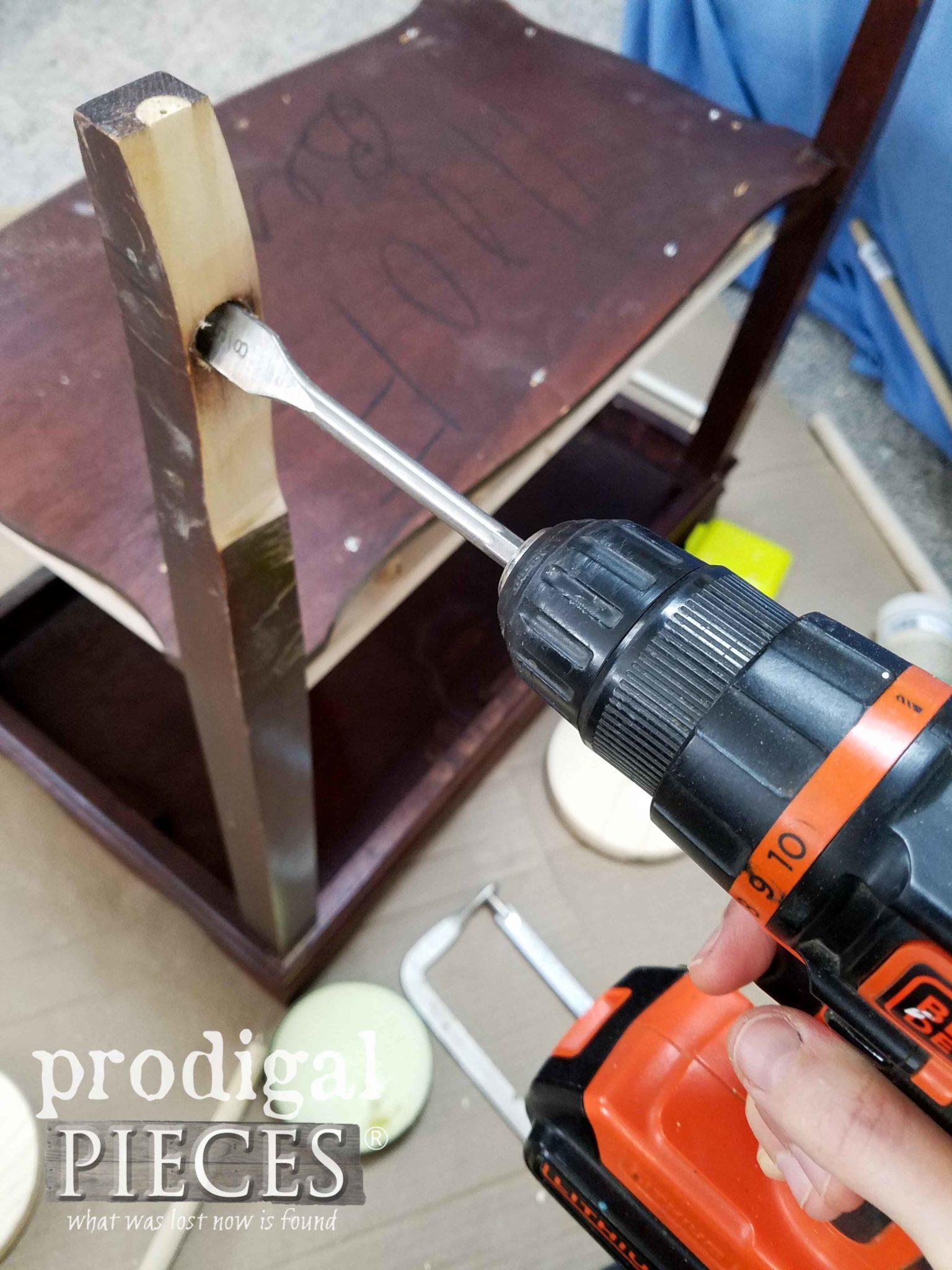 Drilling Vintage Table Leg for Wheels | prodigalpieces.com