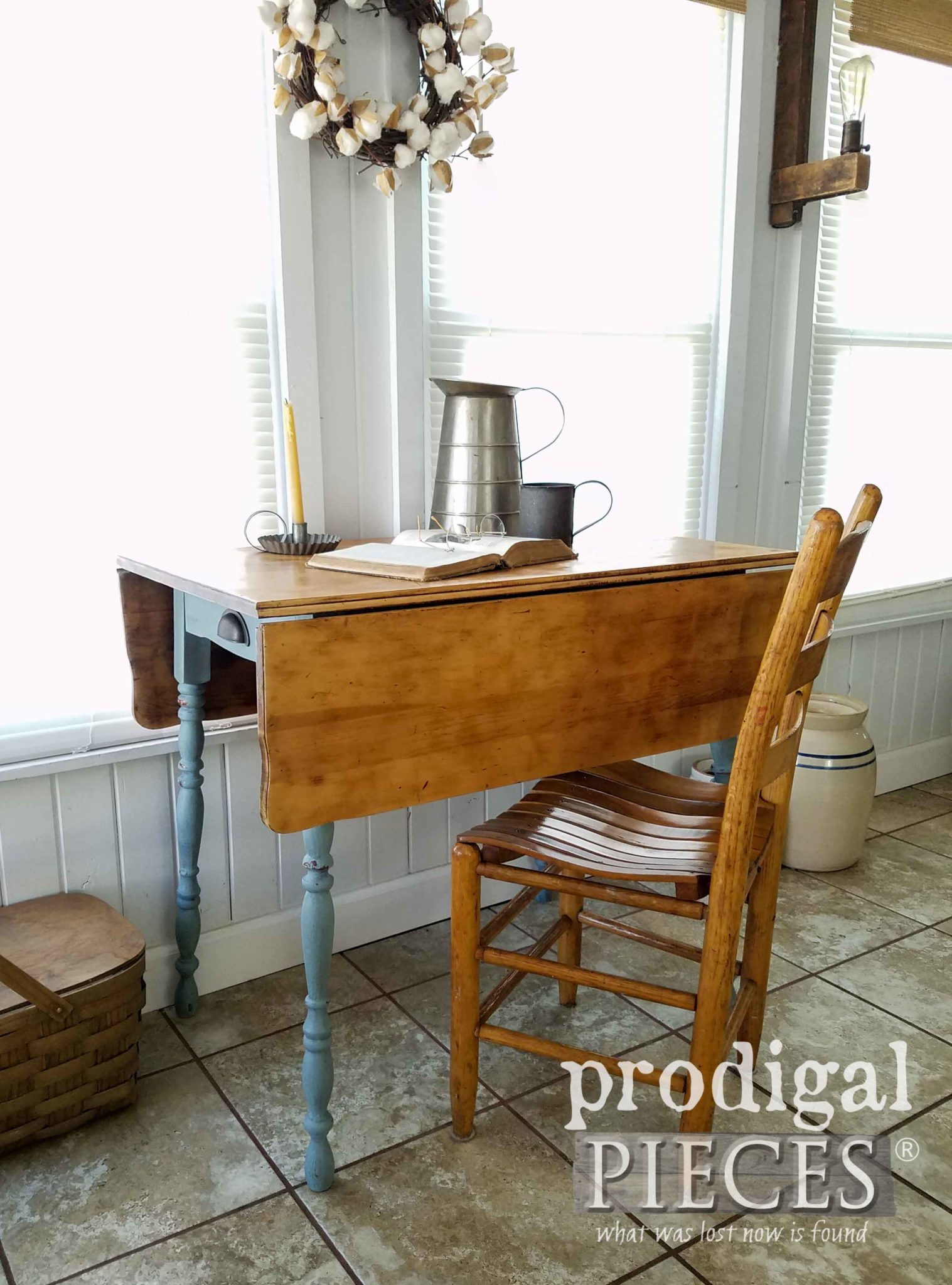 Farmhouse Style Table as Desk for your Home Decor by Larissa of Prodigal Pieces | prodigalpieces.com