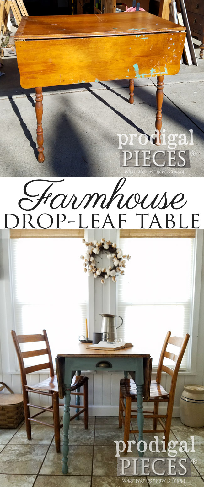 From drab and dated to rustic chic, this farmhouse drop-leaf table never looked so good. Get the DIY details from Larissa at Prodigal Pieces | prodigalpieces.com