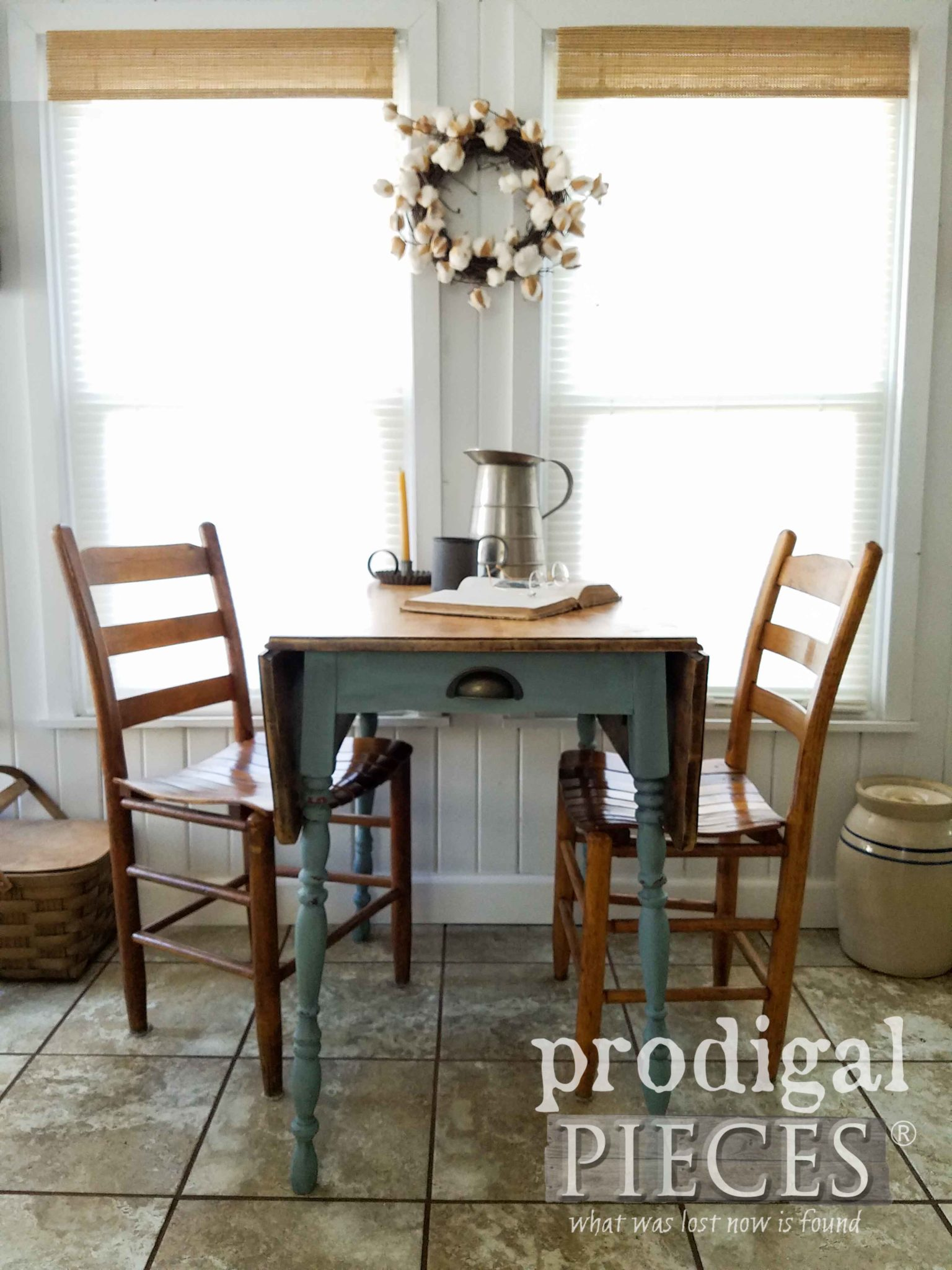 Rustic Farmhouse Drop-Leaf Table Updated by Larissa of Prodigal Pieces | prodigalpieces.com