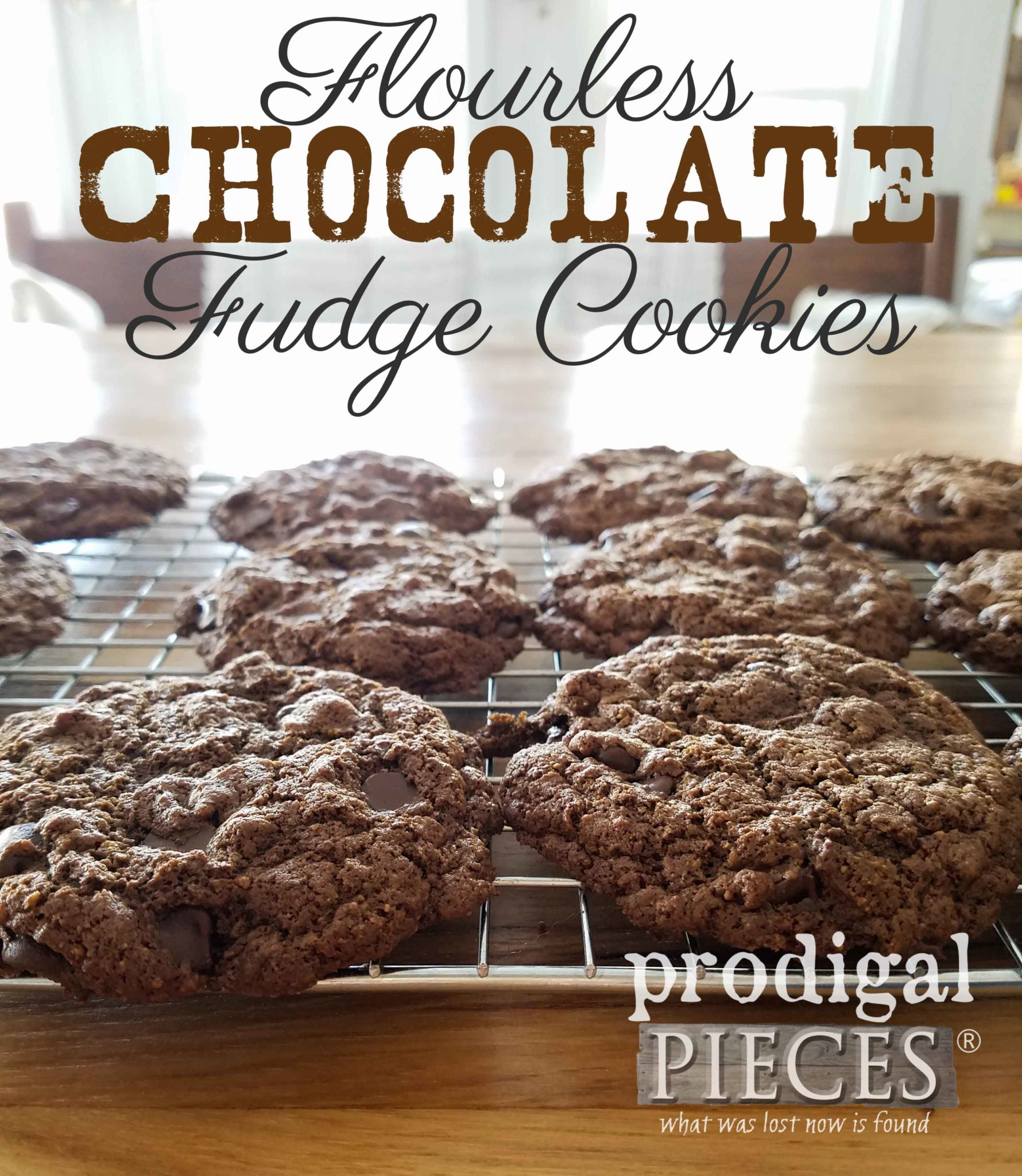 You just have to try these delectable flourless chocolate fudge cookies. So delicious!! Recipe at Prodigal Pieces | prodigalpieces.com