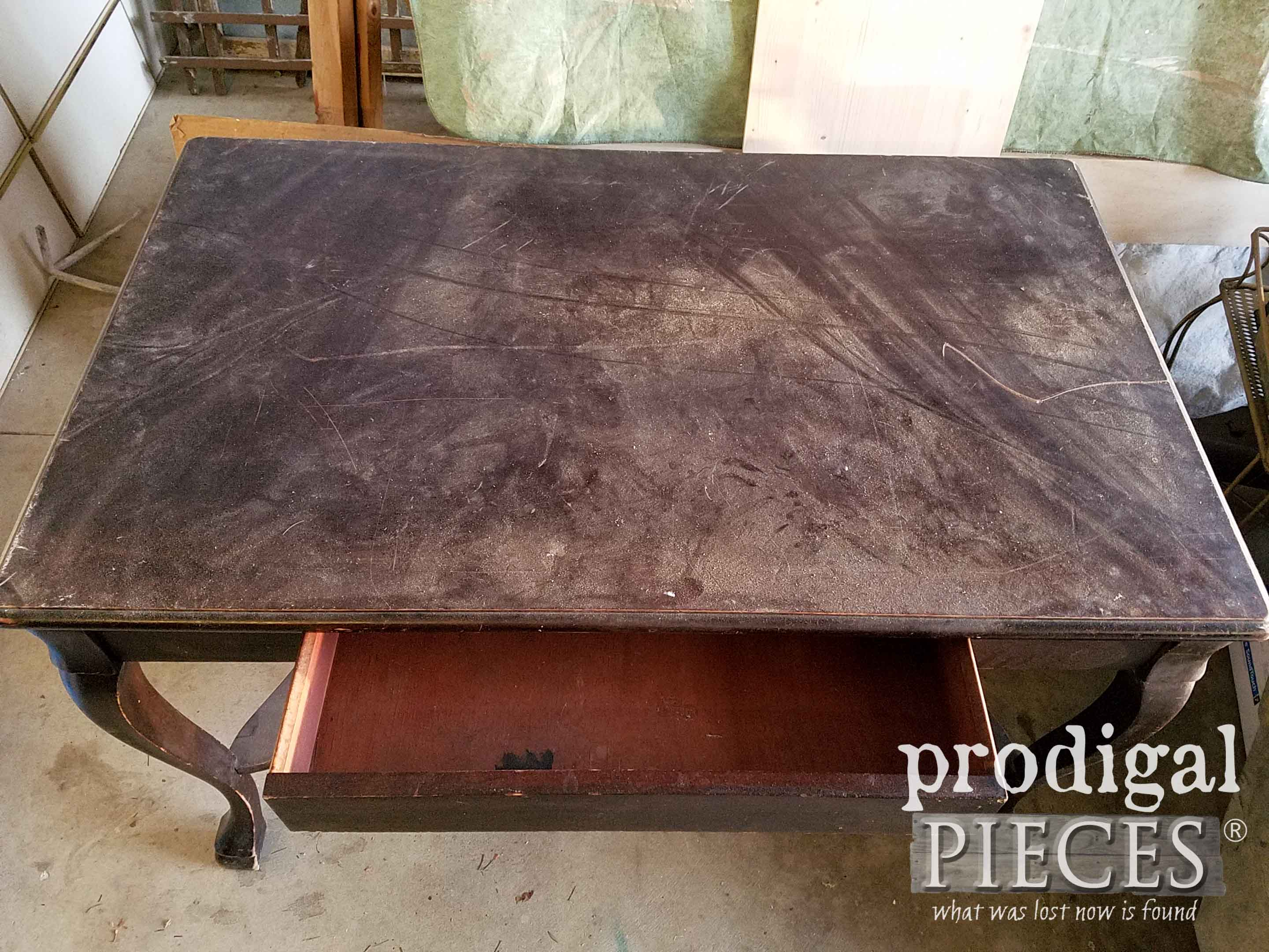 Wear on Antique Library Table Top | prodigalpieces.com