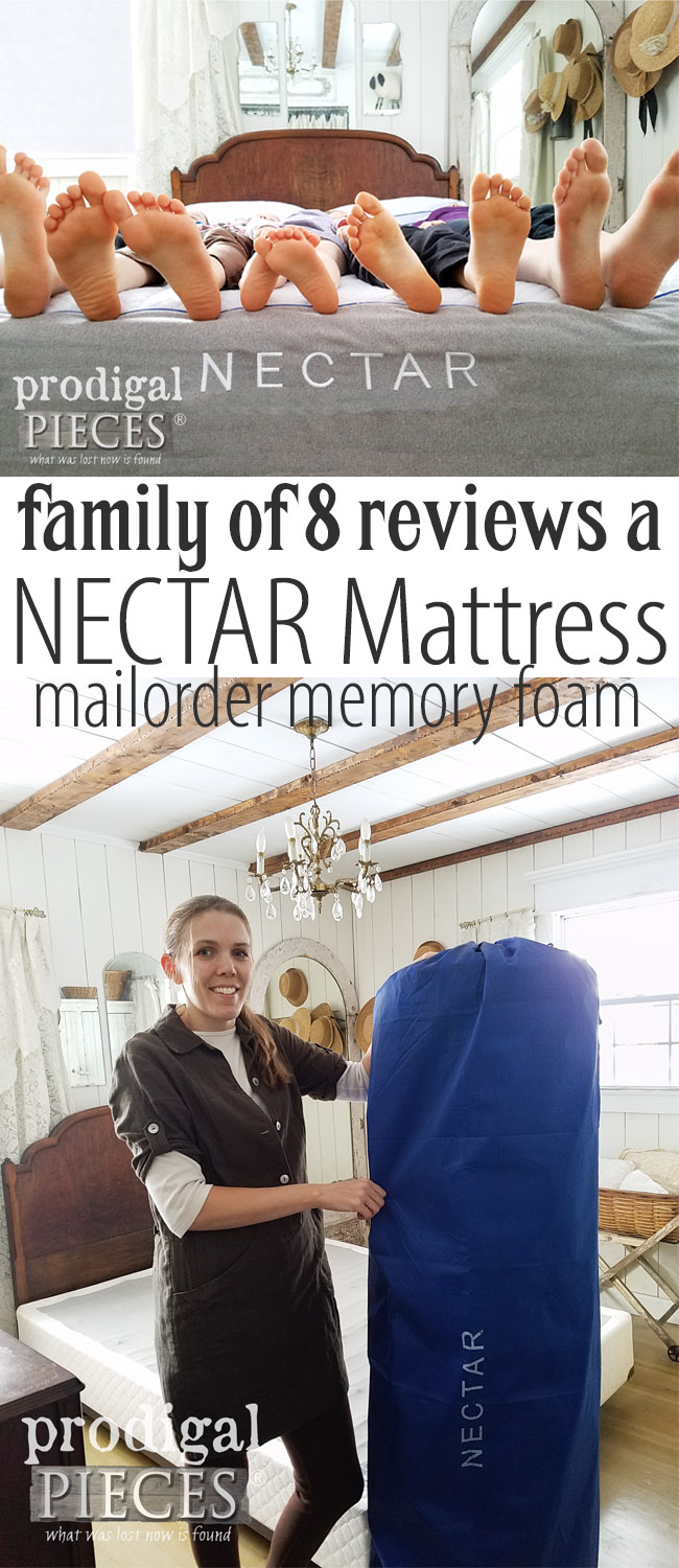 Looking for a new mattress that is affordable and eco-friendly? Take the FREE 365 day trial with a NECTAR mattress review. Our family of 8 did and we love it! Read the honest review at Prodigal Pieces | prodigalpieces.com