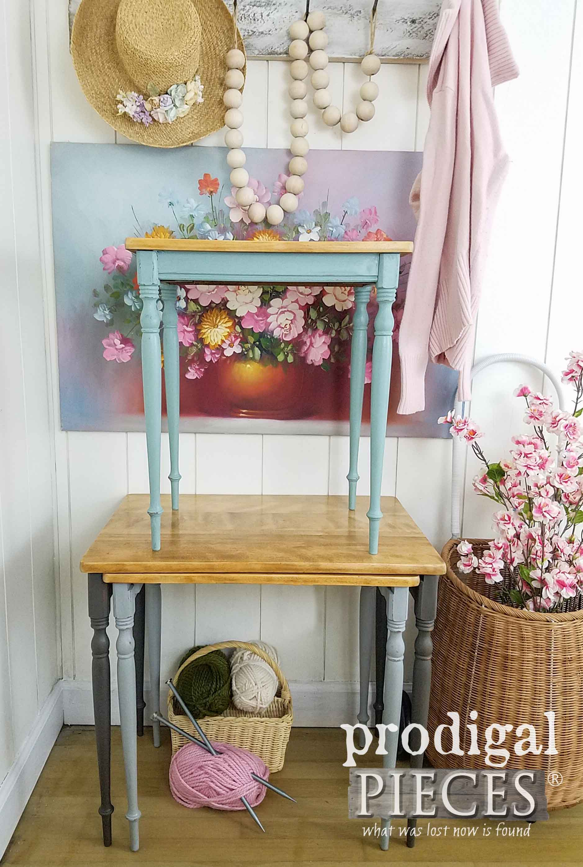 Vintage Nesting Tables Set Painted in Soft Tones by Larissa of Prodigal Pieces | prodigalpieces.com