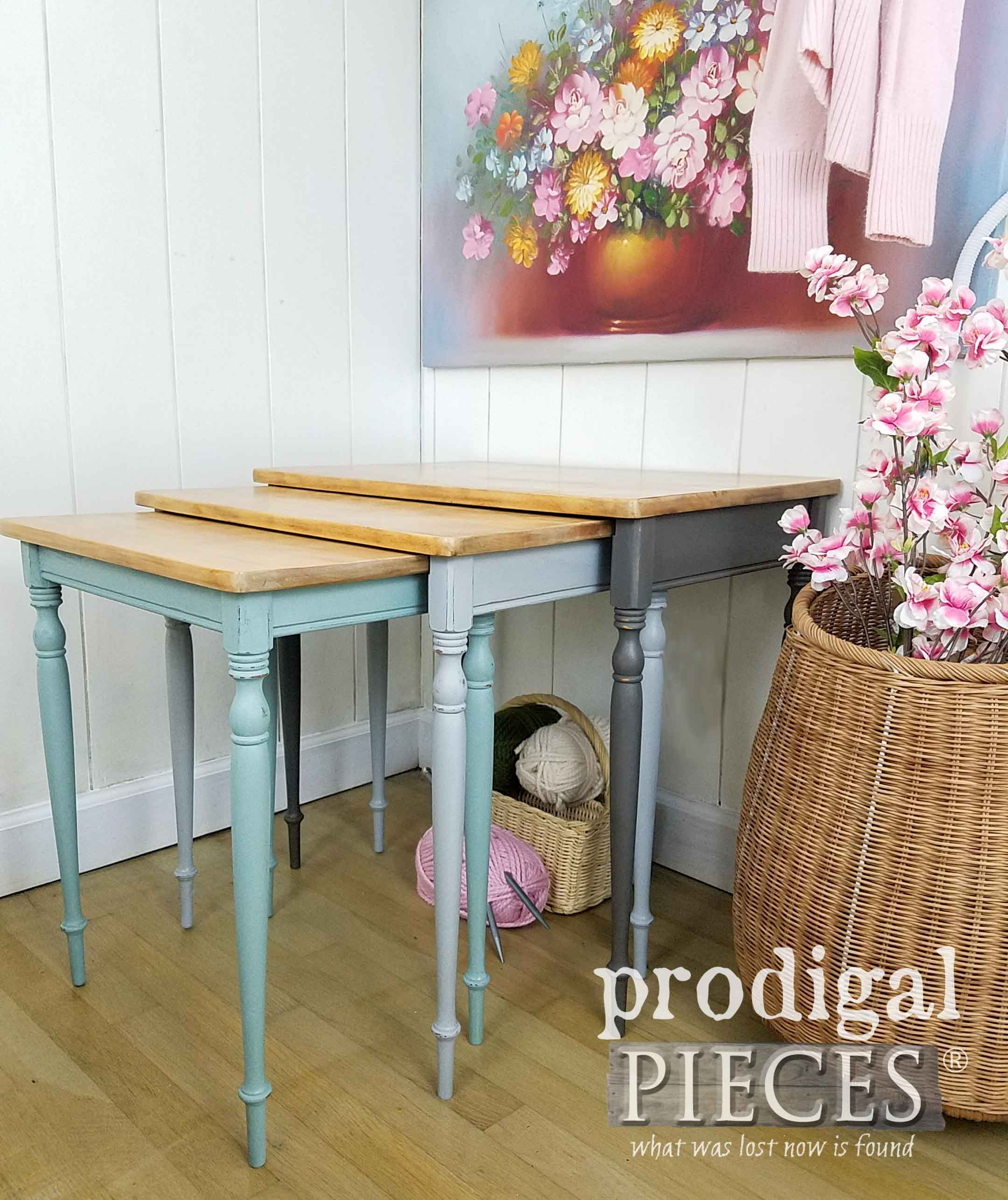 Cottage Style Chalk Painted Nesting Tables by Larissa of Prodigal Pieces | prodigalpieces.com