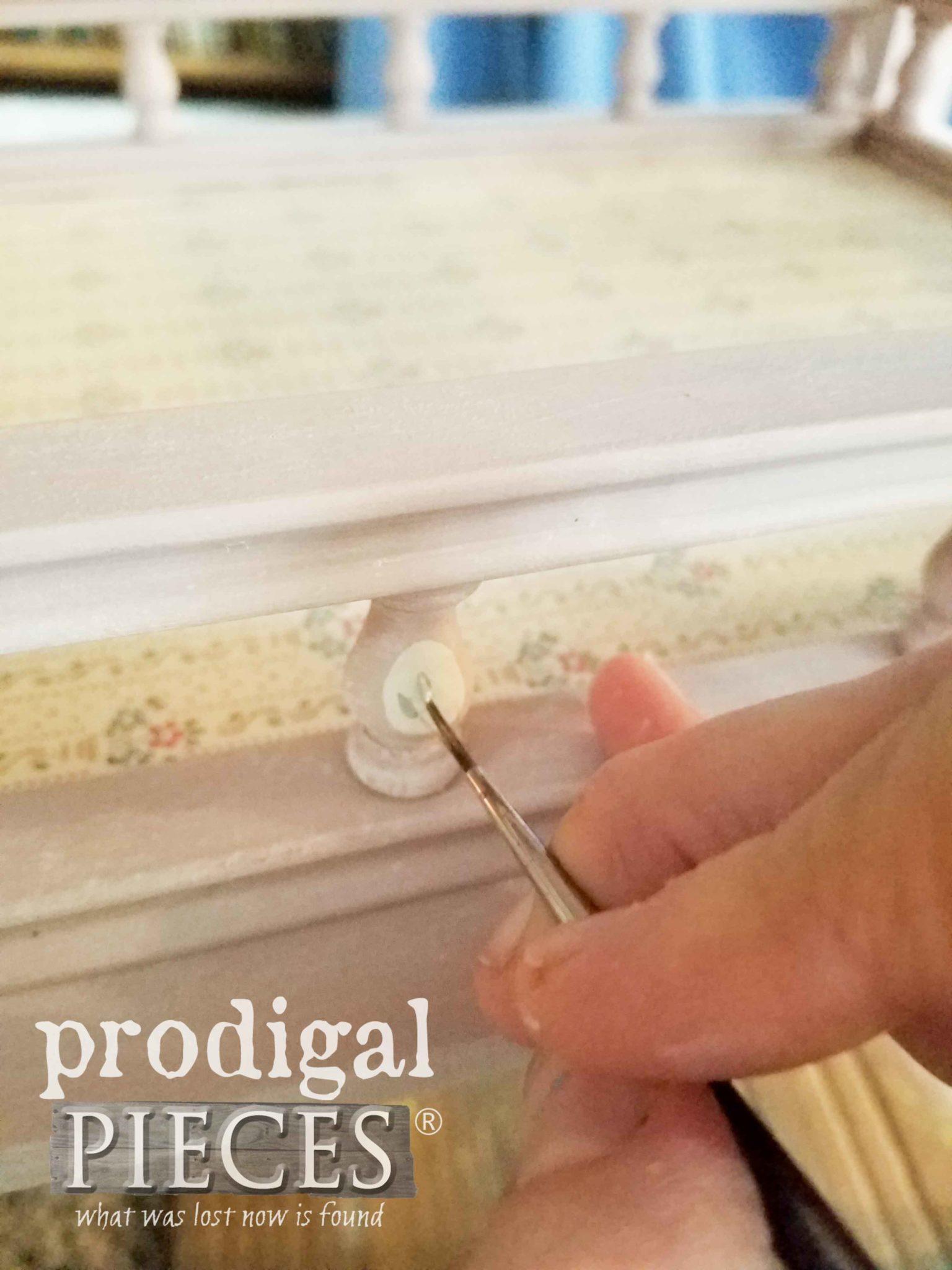 Painting Delicate Details on Child's Tea Cart | Larissa of Prodigal Pieces | prodigalpieces.com