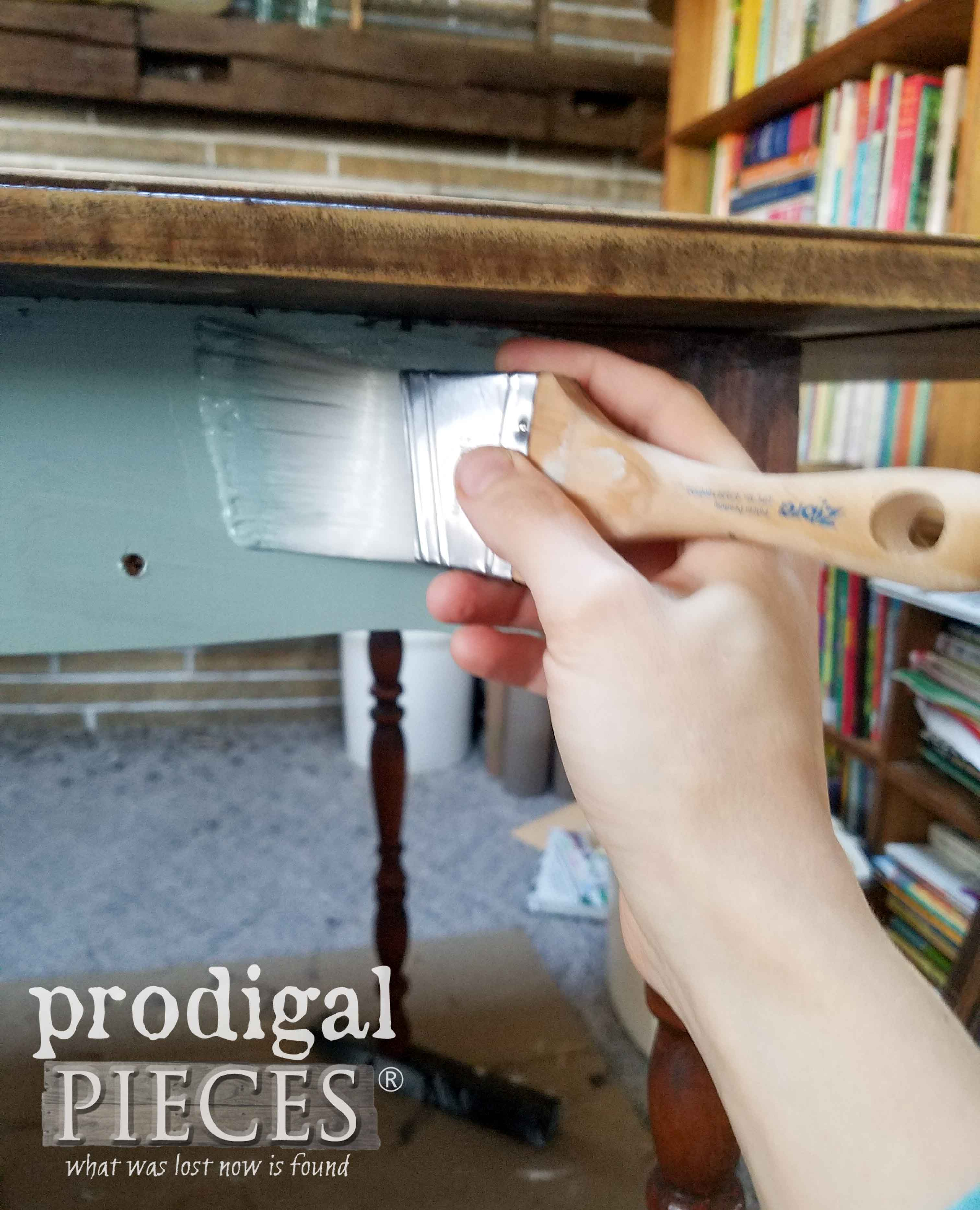 Painting Drop-Leaf Table Skirt with Vintage Duck Egg and Zibra Stubby Brush | prodigalpieces.com