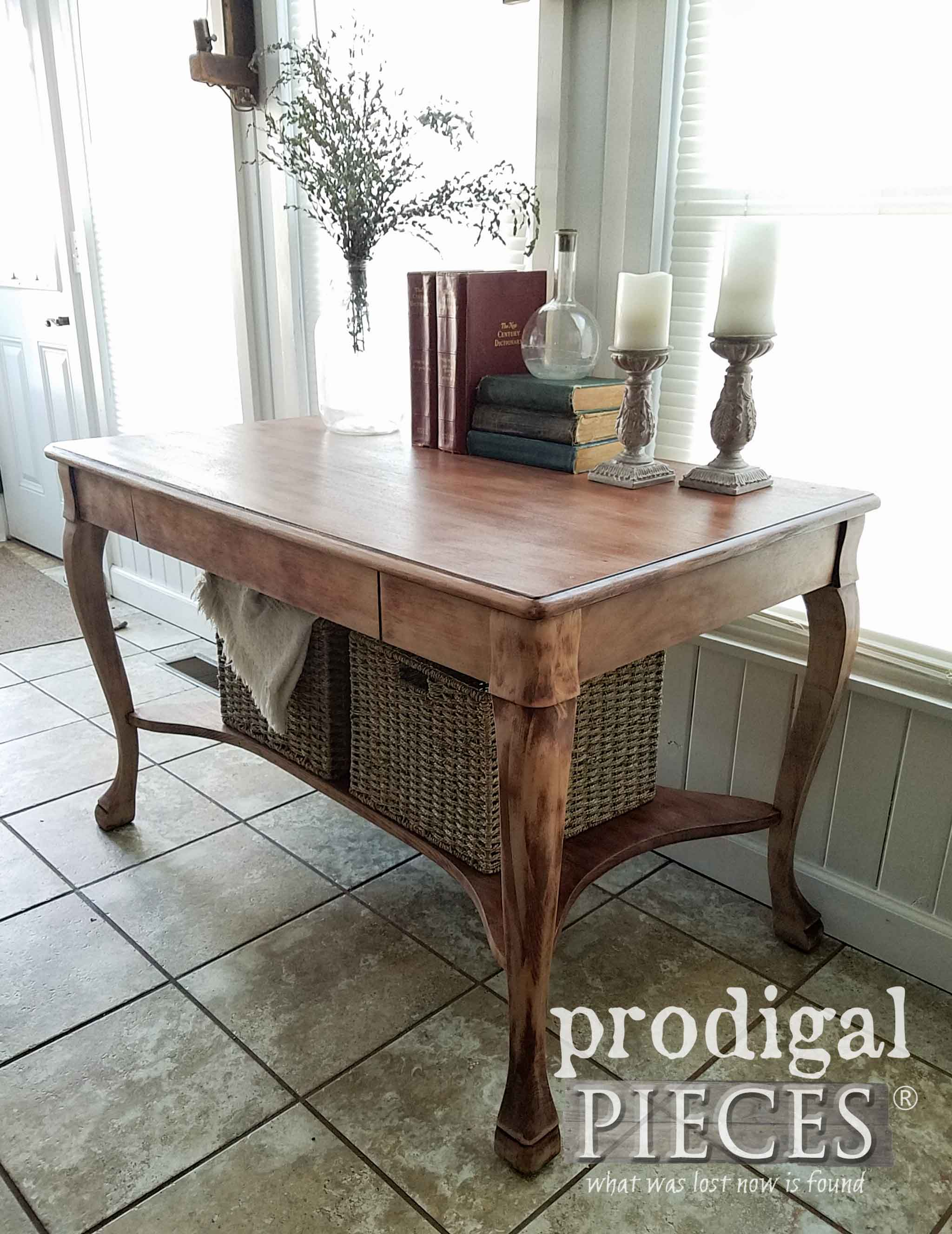 Antique larkin library table with baskets prodigal pieces queen anne style antique larkin library table by larissa of prodigal pieces prodigalpieces geotapseo Choice Image