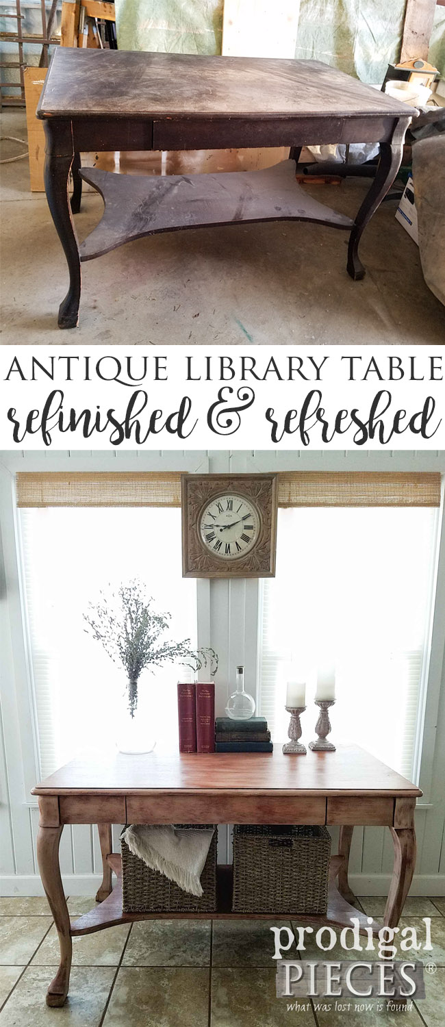 Oh my! This antique library table was looking worse for wear, but after Larissa of Prodigal Pieces gave it a new look, it now shines again. Get the DIY details at prodigalpieces.com