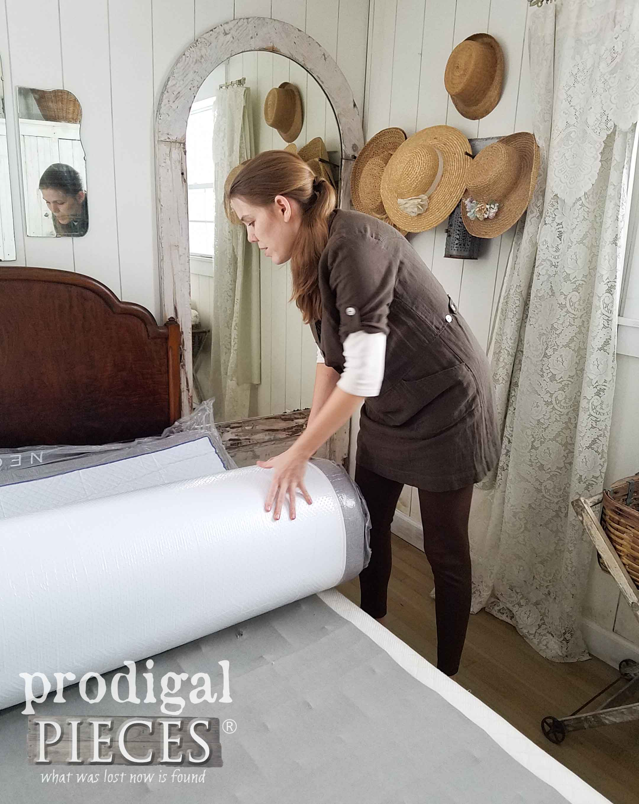 Rolling Out Packaged NECTAR Mattress | prodigalpieces.com