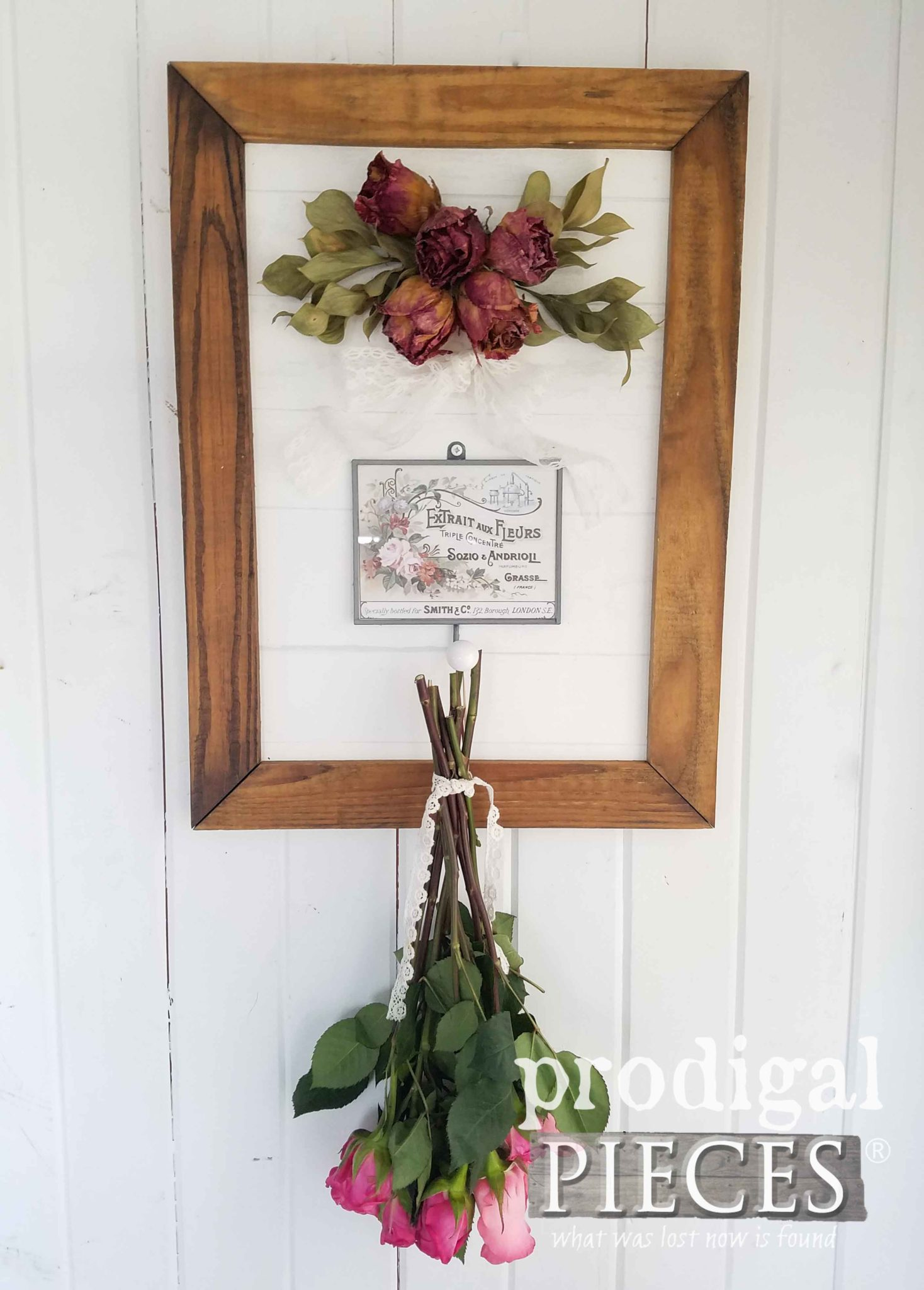 Rustic Chic Framed Roses with French Perfume Label and Hook | by Larissa at Prodigal Pieces | prodigalpieces.com