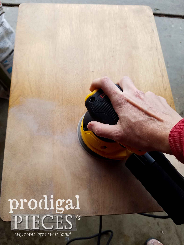 Sanding Nesting Table Tops with DeWalt Orbital Sander | prodigalpieces.com