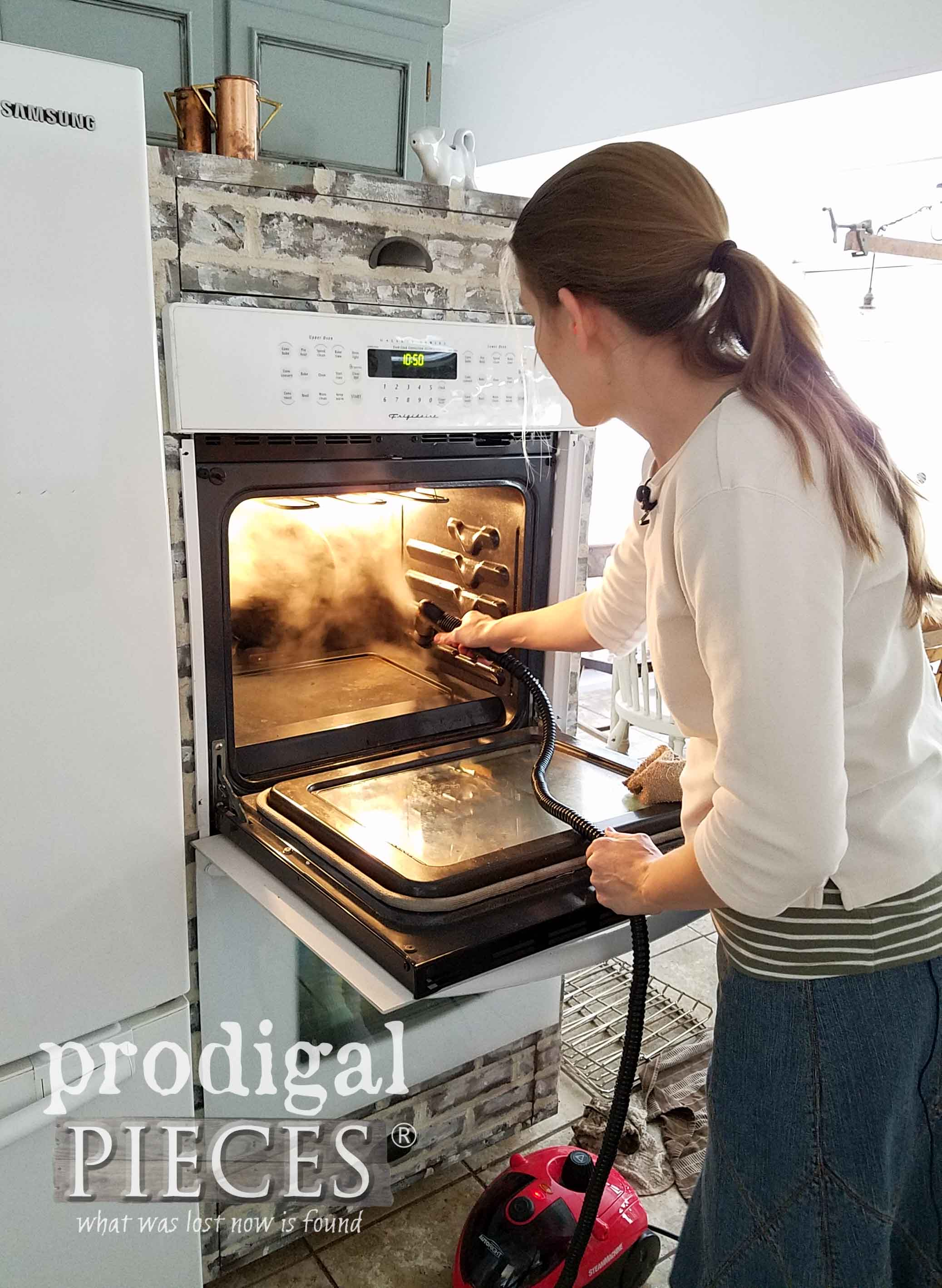 Skip the chemicals and get your oven clean the Fast & Easy way with a HomeRight Steam Machine | Video tutorial by Larissa of Prodigal Pieces | prodigalpieces.com