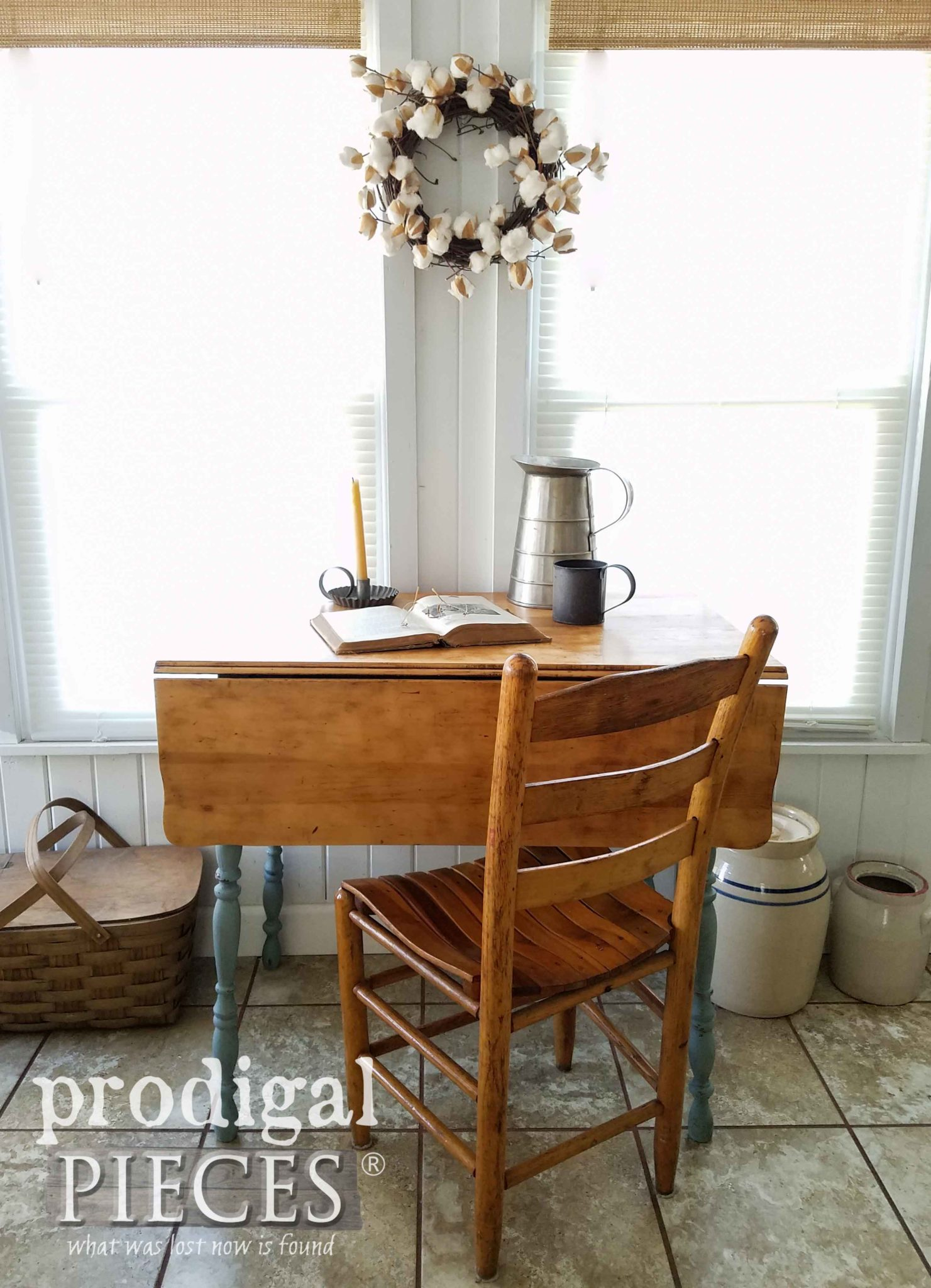 Farmhouse Drop-Leaf Table Used as Desk, Console Table, Sofa Table, Entry Table and More. By Prodigal Pieces | prodigalpieces.com