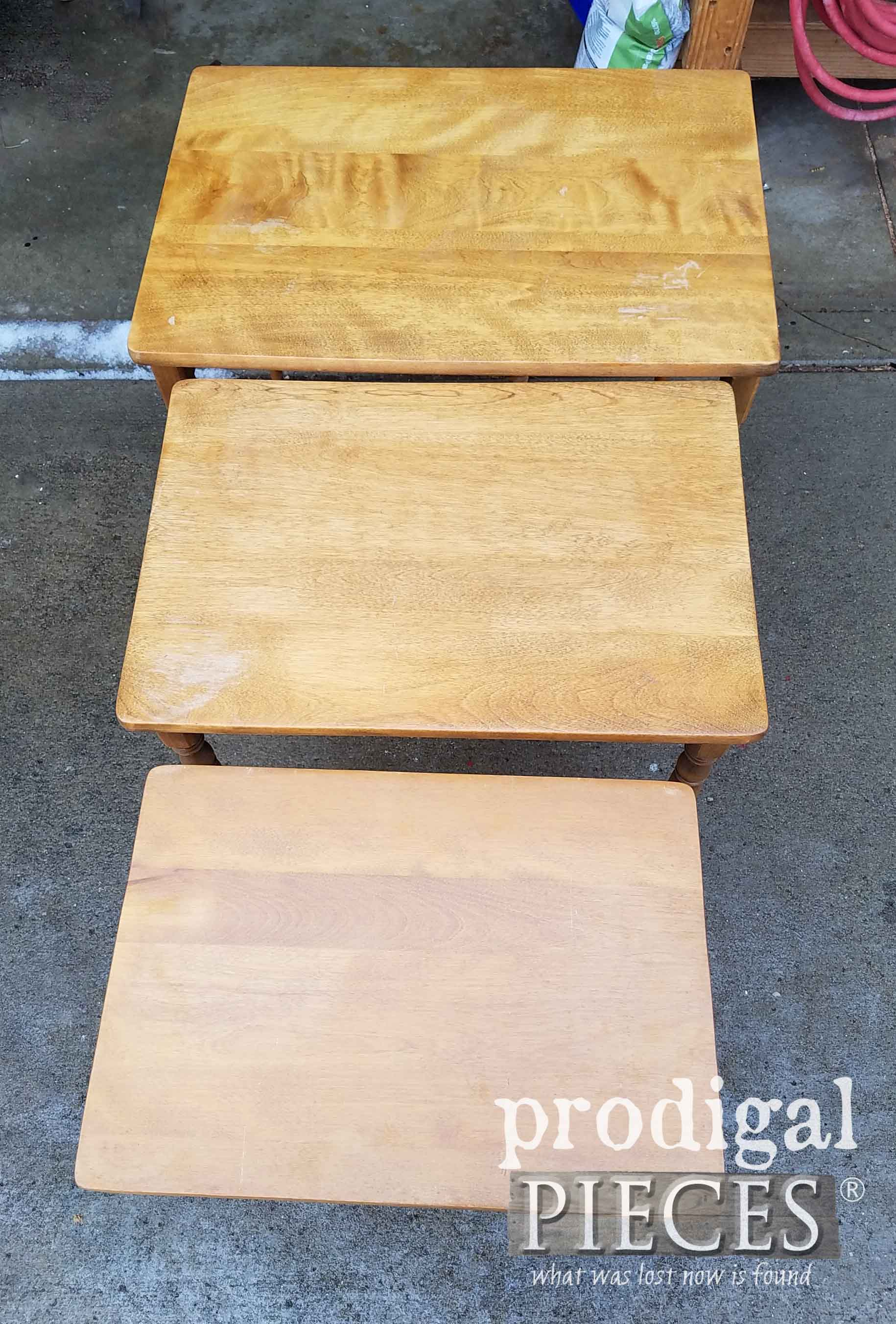 Damaged Tops of Vintage Nesting Tables | prodigalpieces.com