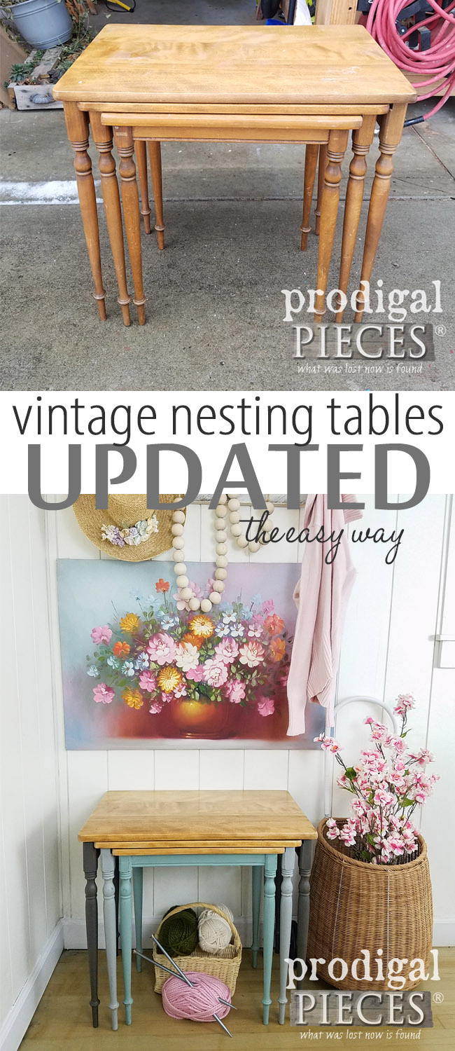Such sweetness! This is an wonderful way to update a set of vintage nesting tables. All it takes is a DIY spirit! Get the DIY details at Prodigal Pieces | prodigalpieces.com