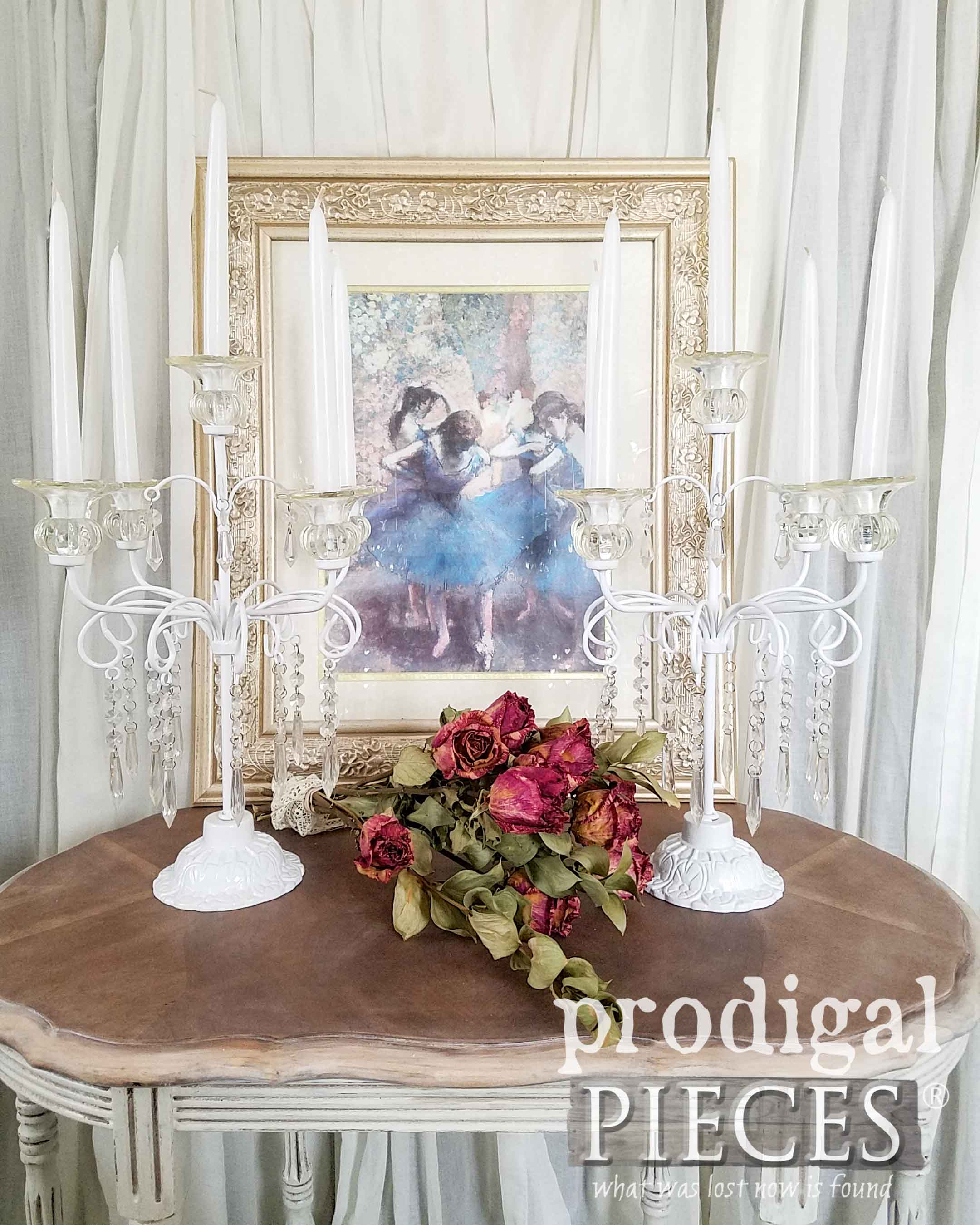 Set of 2 Vintage Candelabras with Shabby Chic Style by Larissa of Prodigal Pieces | prodigalpieces.com