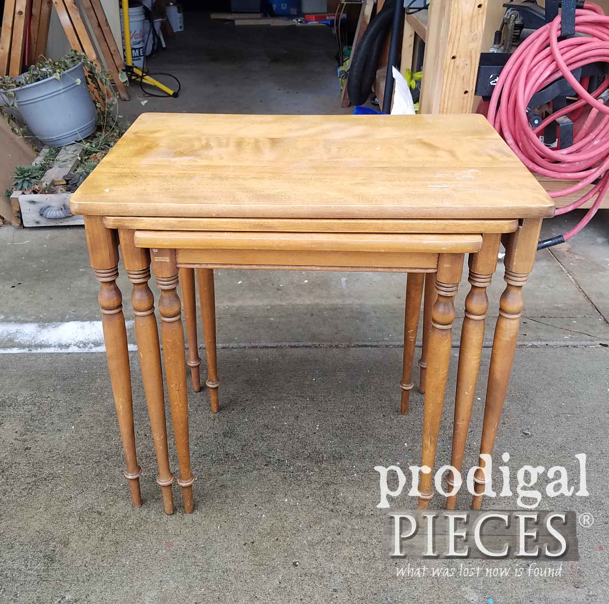 Set of Vintage Nesting Tables Before Makeover by Prodigal Pieces | prodigalpieces.com