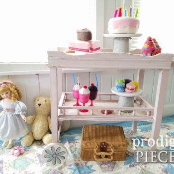 How sweet! This vintage side table was repurposed into a little kids tea cart for tea party time. See the details at Prodigal Pieces | prodigalpieces.com