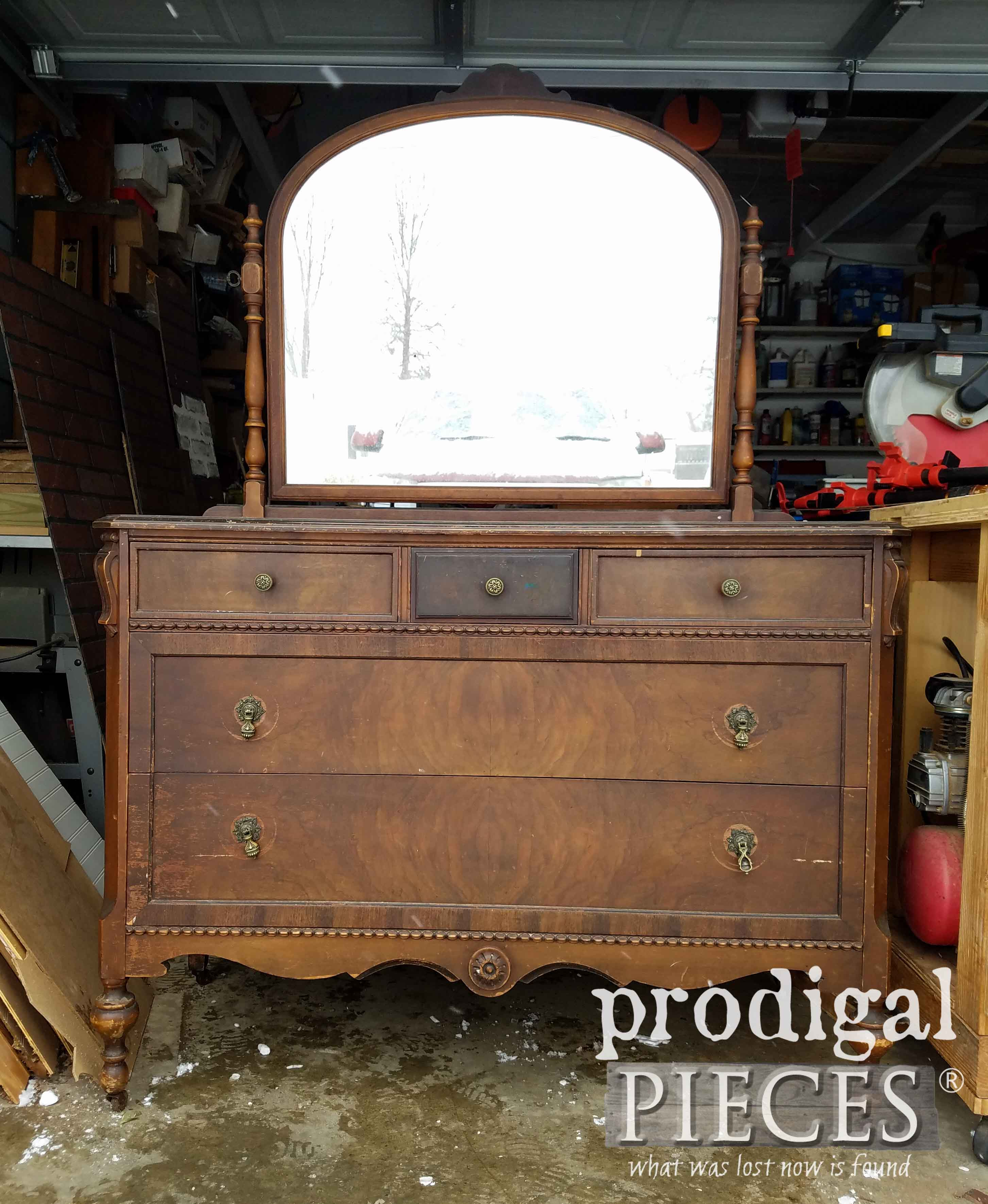 Antique Dresser with Mirror Before Makeover by Prodigal Pieces | prodigalpieces.com
