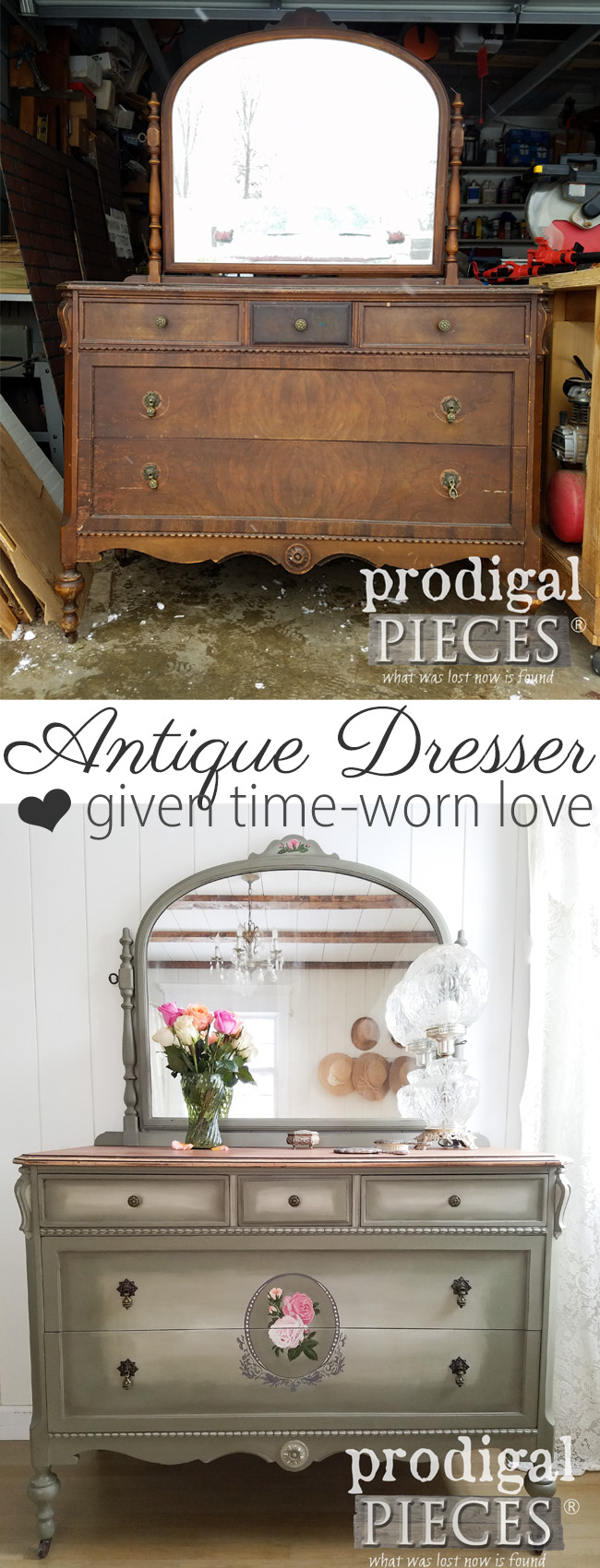 A tired and worn antique dresser gets the new look of a lifetime. Larissa of Prodigal Pieces tackles the damage to bring it new life. Read the story at prodigalpieces.com