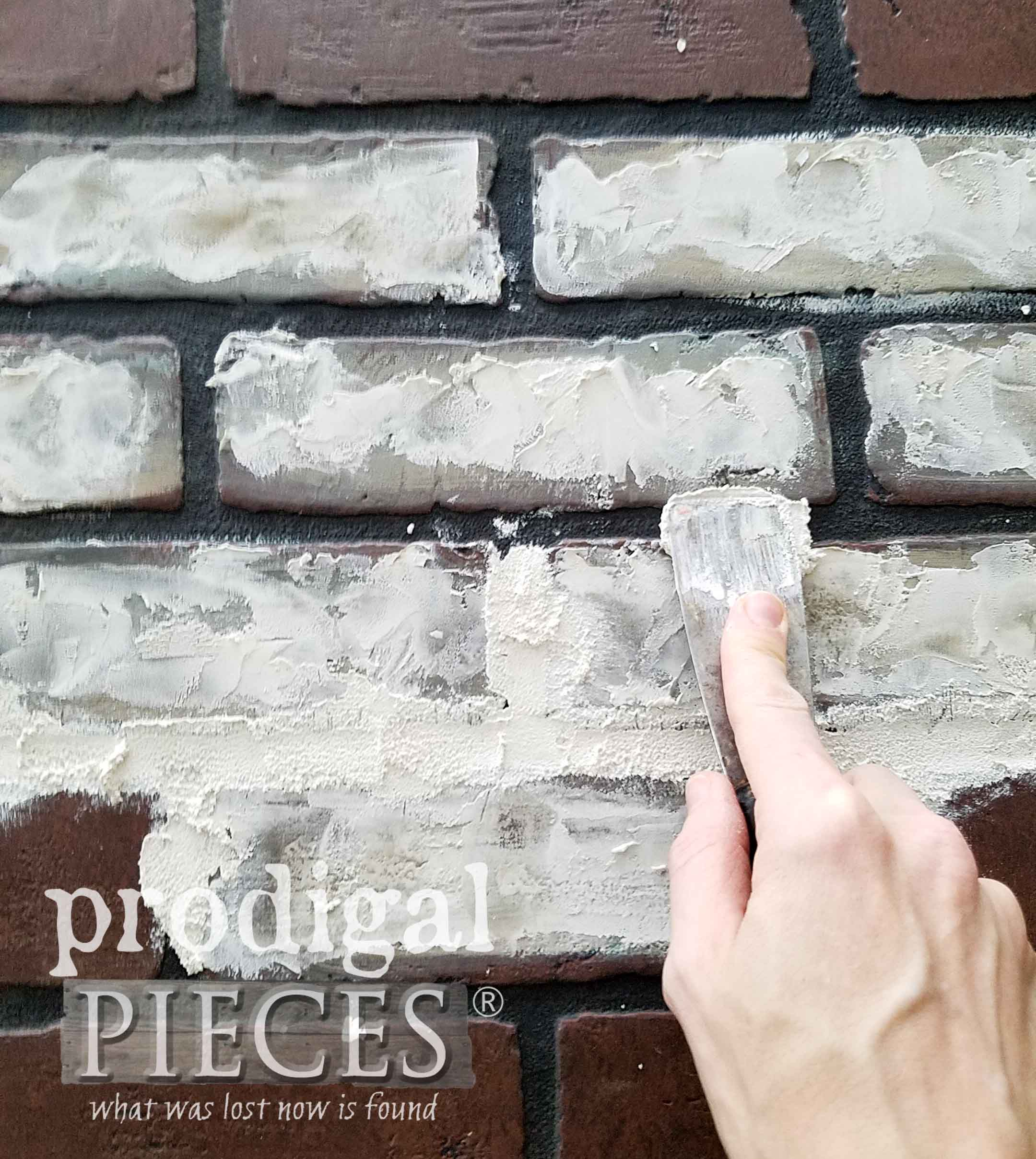 Applying Grout for Faux Brick Effect by Prodigal Pieces | prodigalpieces.com