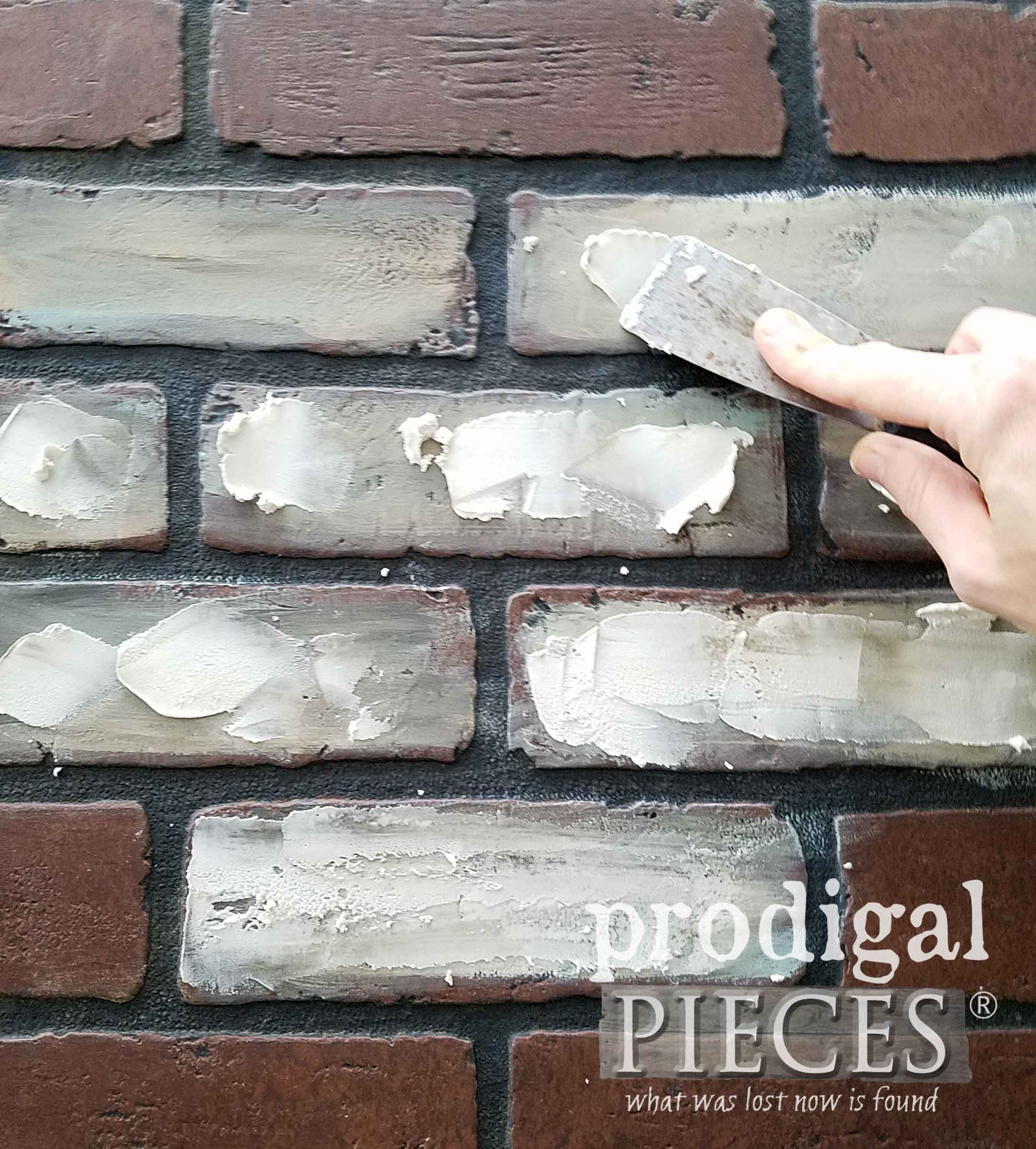 Applying Joint Compound to Faux Brick | prodigalpieces.com