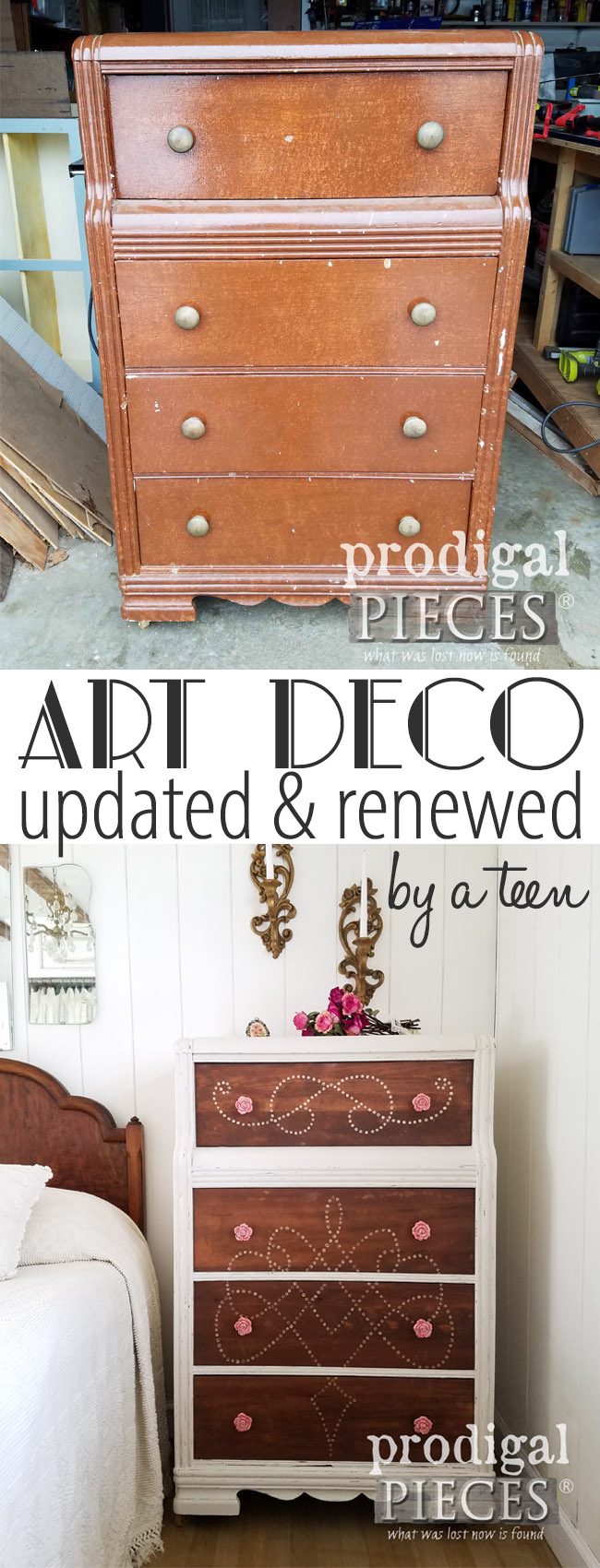 Oh, how beautiful! A teen girl takes an ugly dated piece and turns it into a fantastic updated Art Deco chest of drawers. See how she did it at Prodigal Pieces | prodigalpieces.com