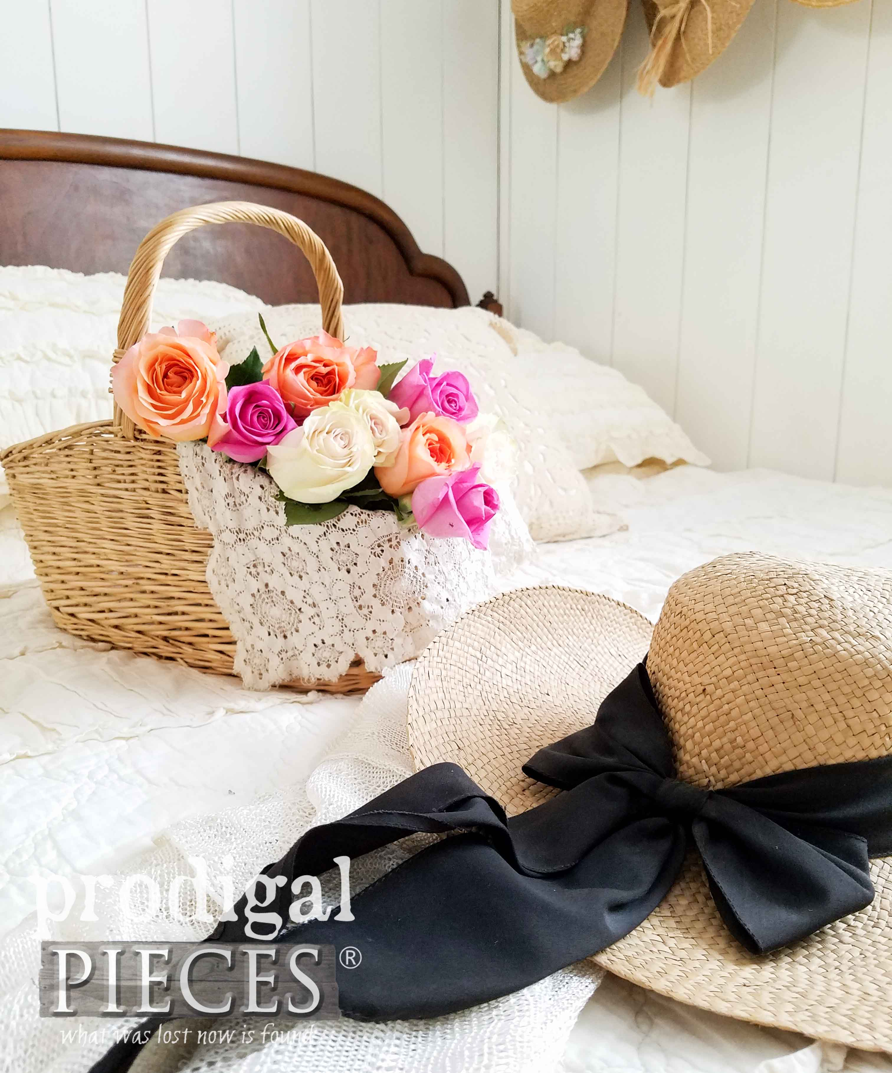 Basket of Roses in Bedroom by Larissa of Prodigal Pieces | prodigalpieces.com