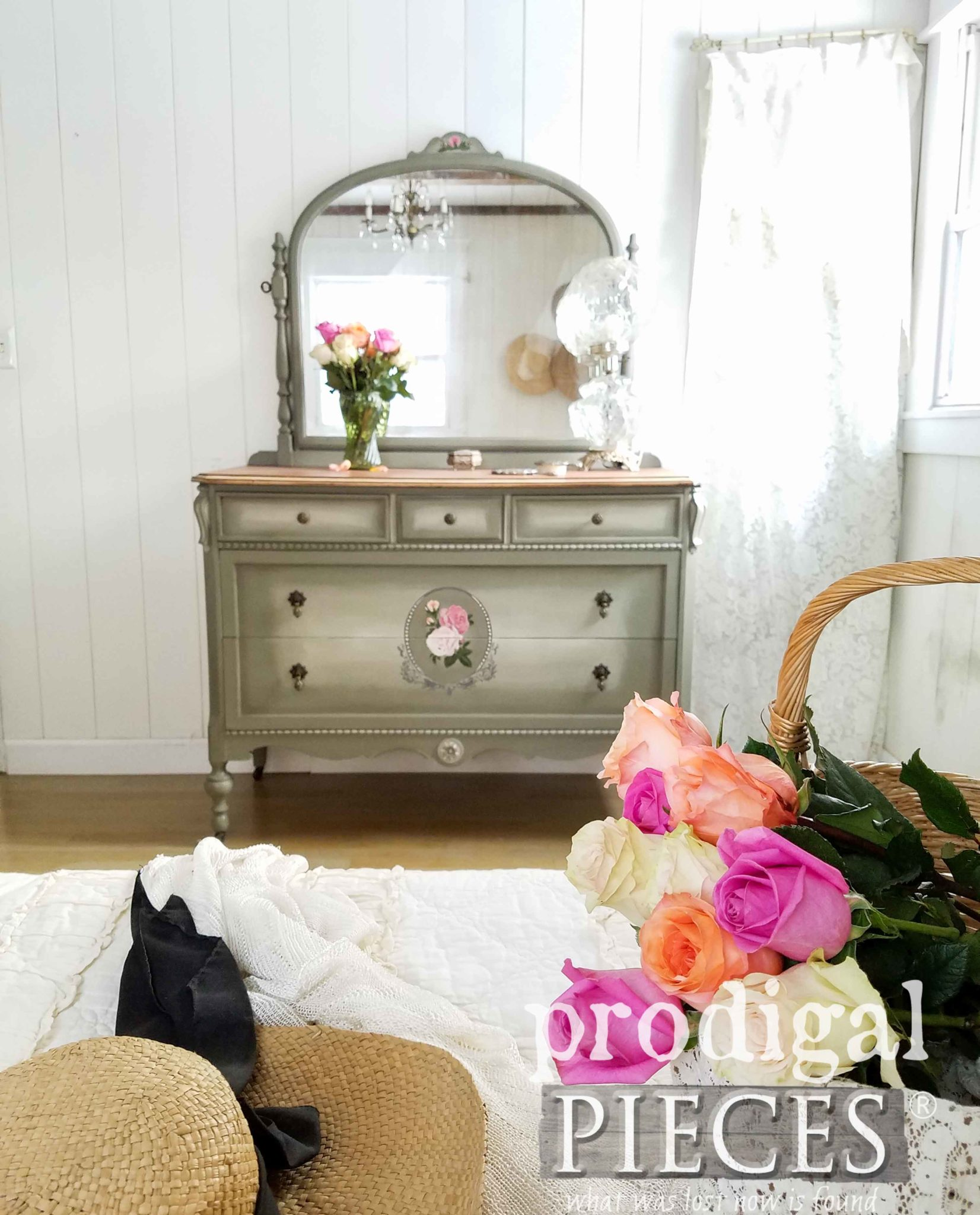 Cottage Style Bedroom with Antique Dresser Made New by Larissa of Prodigal Pieces | prodigalpieces.com
