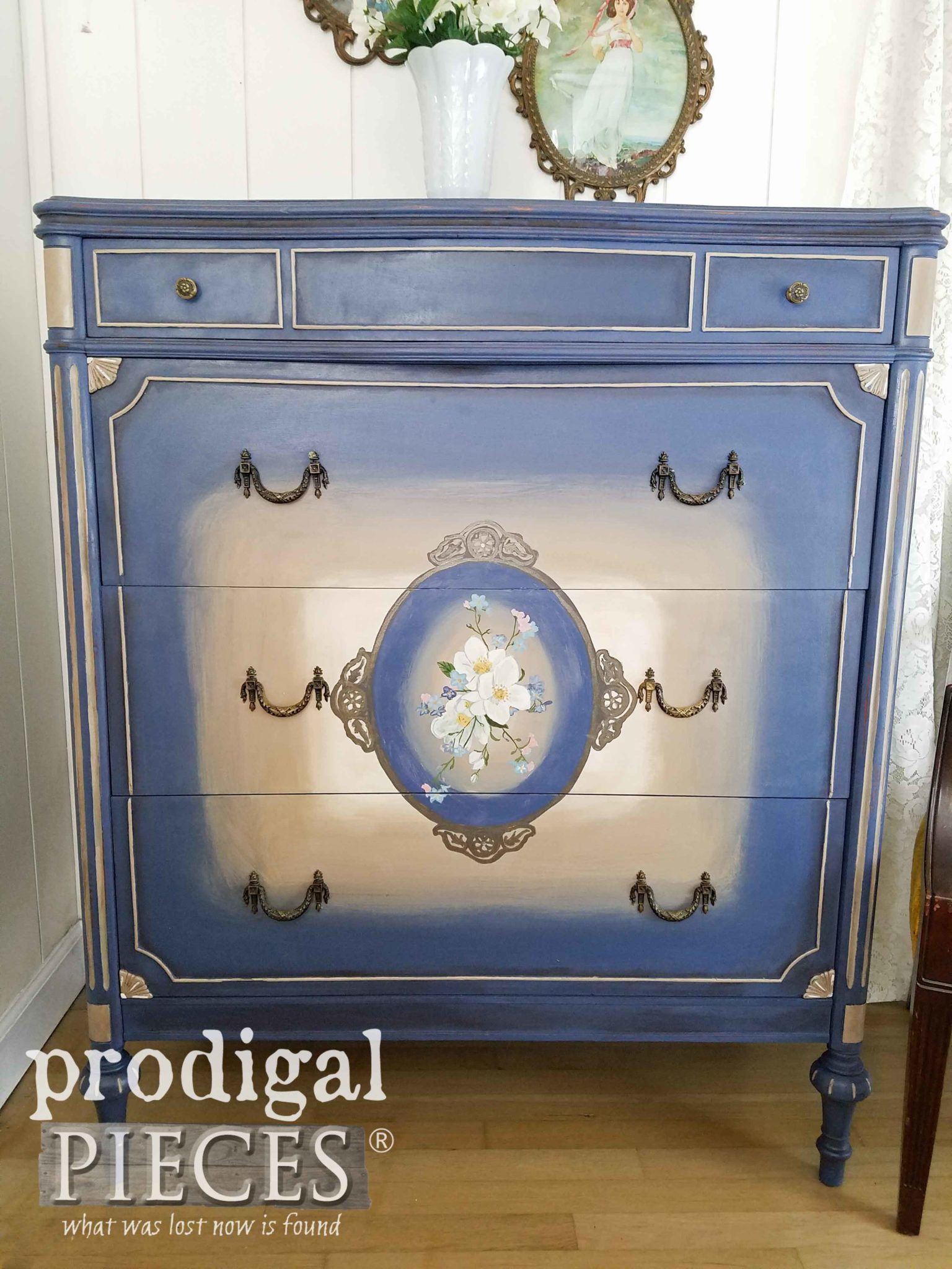 Blue Antique Chest of Drawers with Hand-Painted Details by Larissa of Prodigal Pieces | prodigalpieces.com