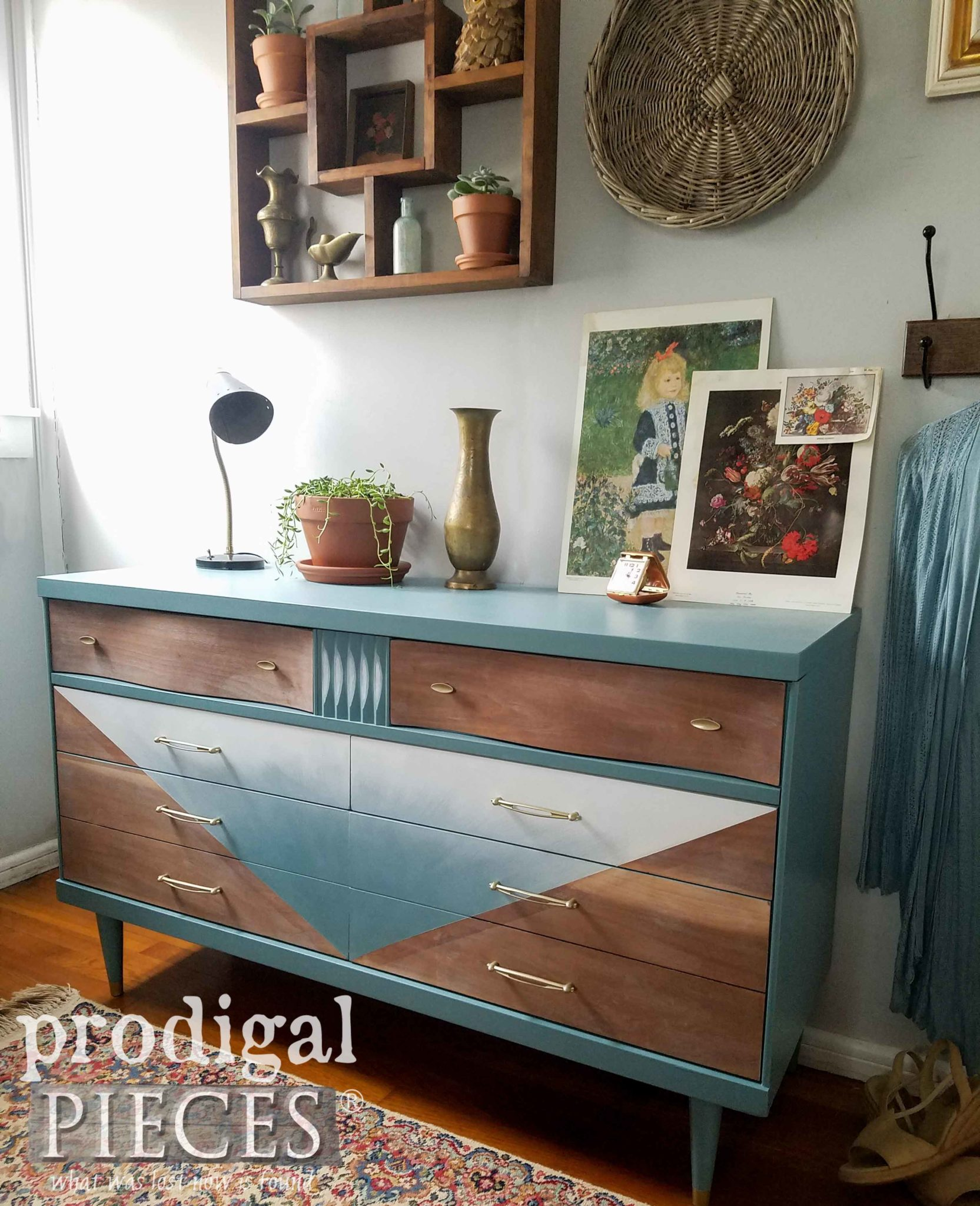Vintage Bassett Mid Century Modern Dresser with Boho Chic Vibe by Larissa of Prodigal Pieces | prodigalpieces.com