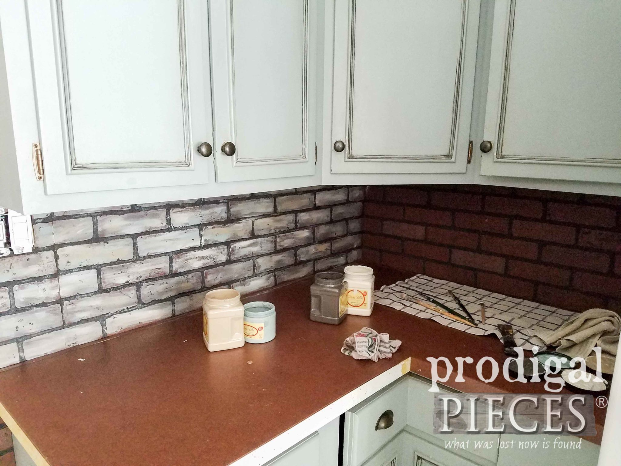 Applying Faux Brick with Whitewashed German Schmear as Backsplash | prodigalpieces.com