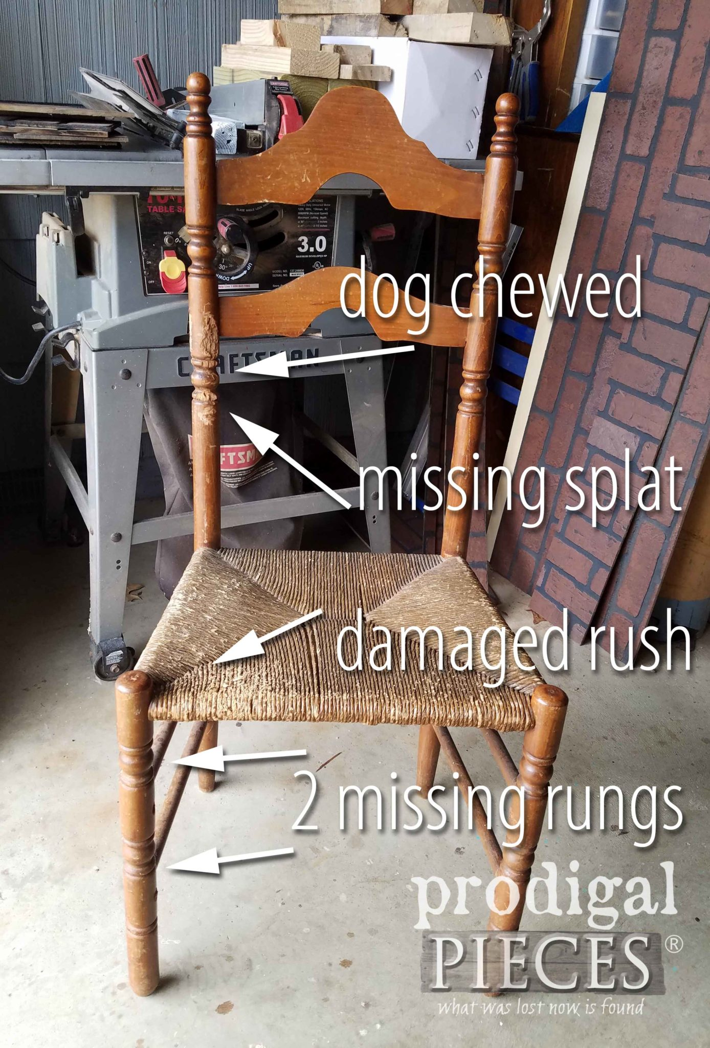Antique Chair With Damage And Need Of Repair | Prodigalpieces.com