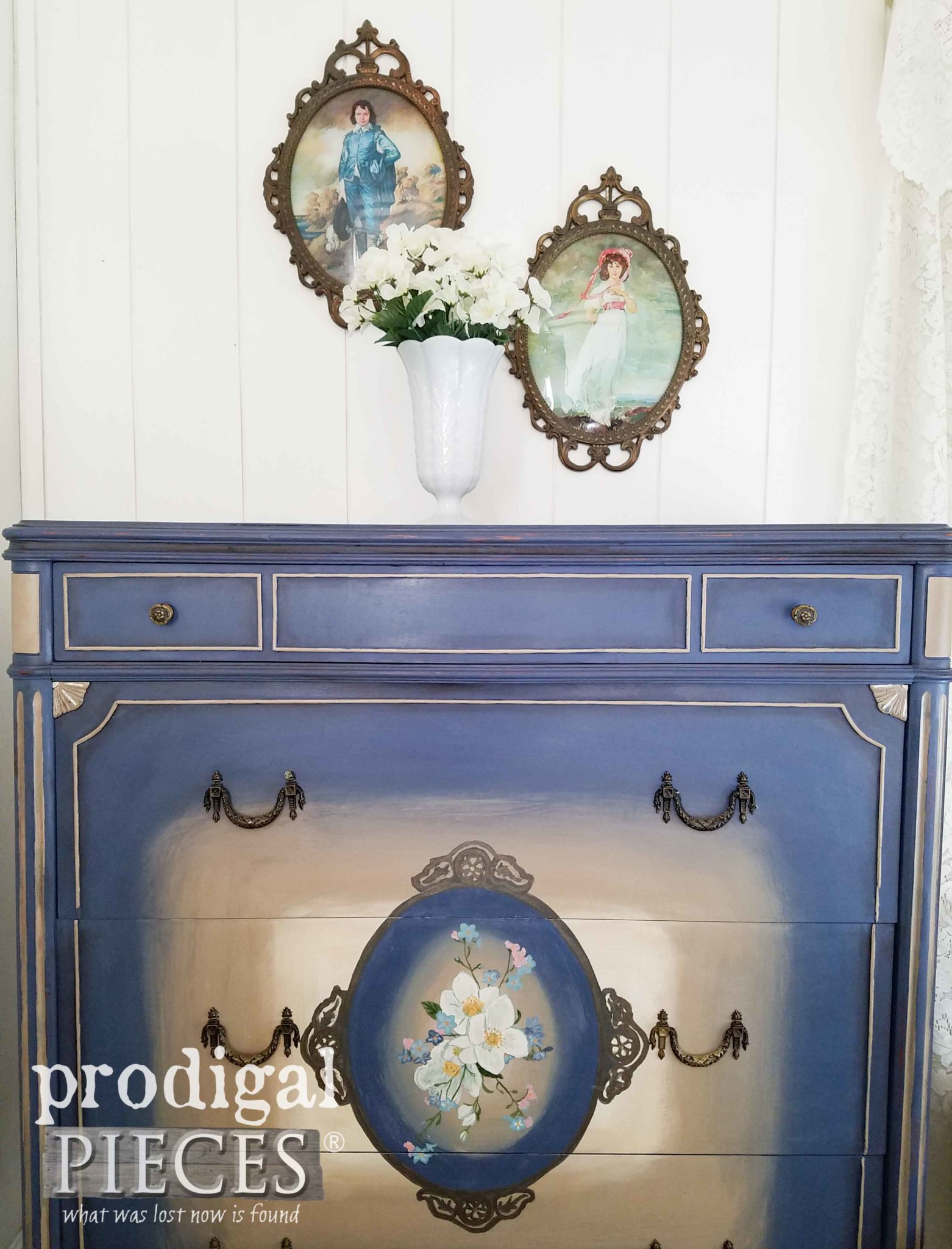 Beautiful Blue Antique Chest Closeup with Vintage Prints | prodigalpieces.com