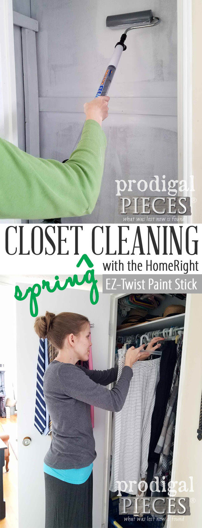 Don't wait another day! Get your closet spring cleaning done in a day with the HomeRigth EZ-Twist Paint Stick. It saves you time and money with less mess and more DIY time. See the video tutorial by Larissa of Prodigal Pieces at prodigalpieces.com