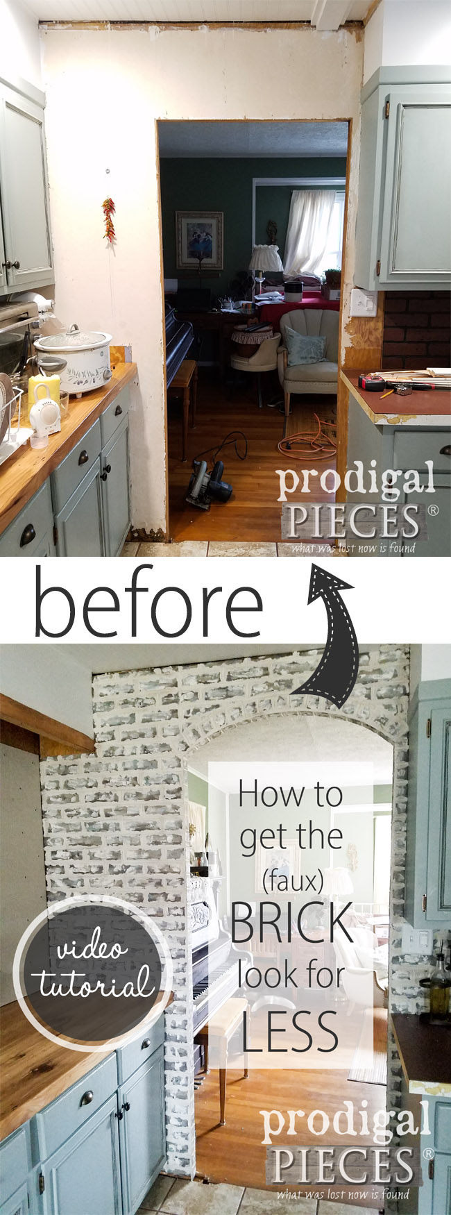WOWZA!! Can you believe that is fake brick? Come see the DIY Faux Brick Tutorial with video of how to get this done in a day. So easy!! By Larissa of Prodigal Pieces | prodigalpieces.com